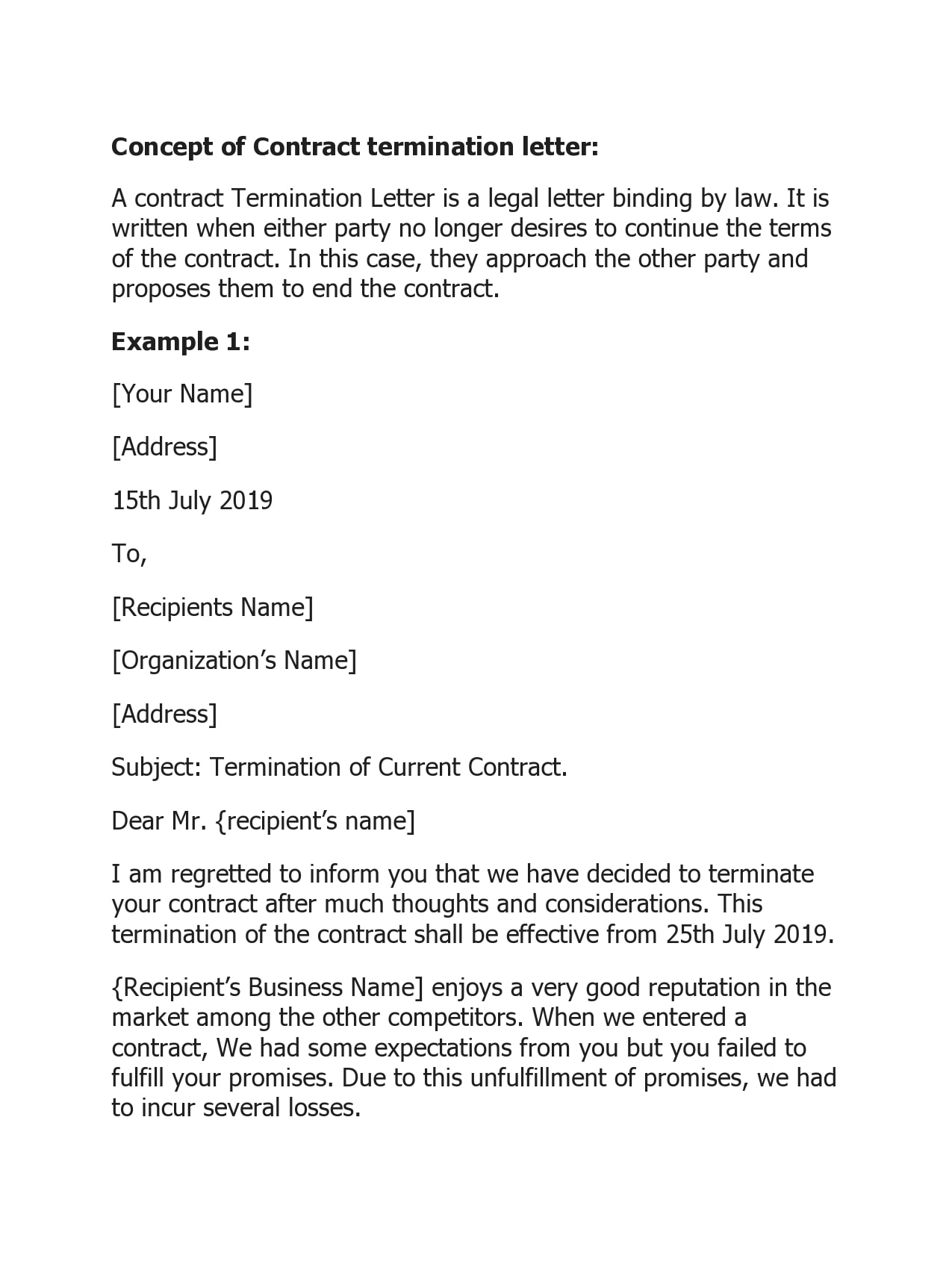 contract termination letter 45