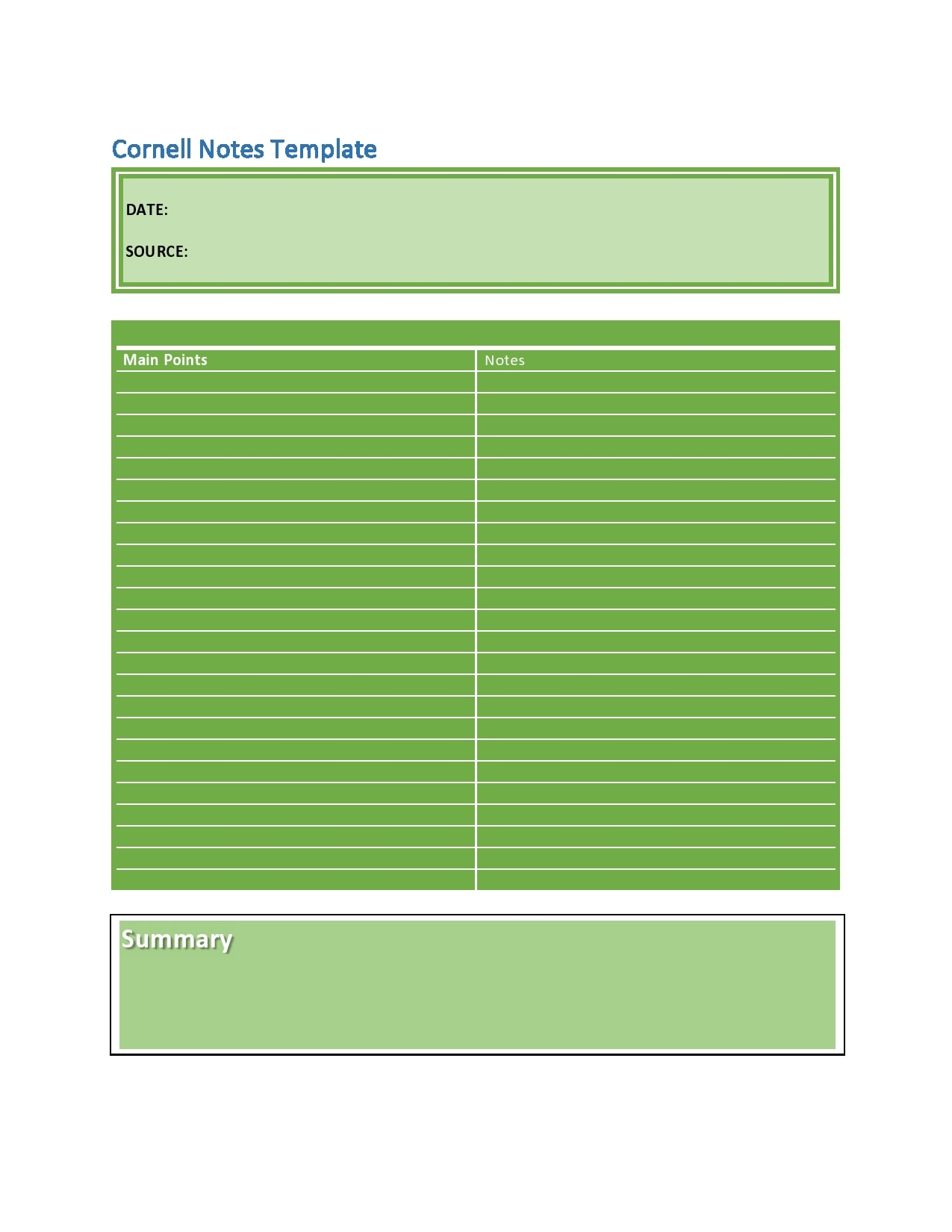 cornell notes template 13