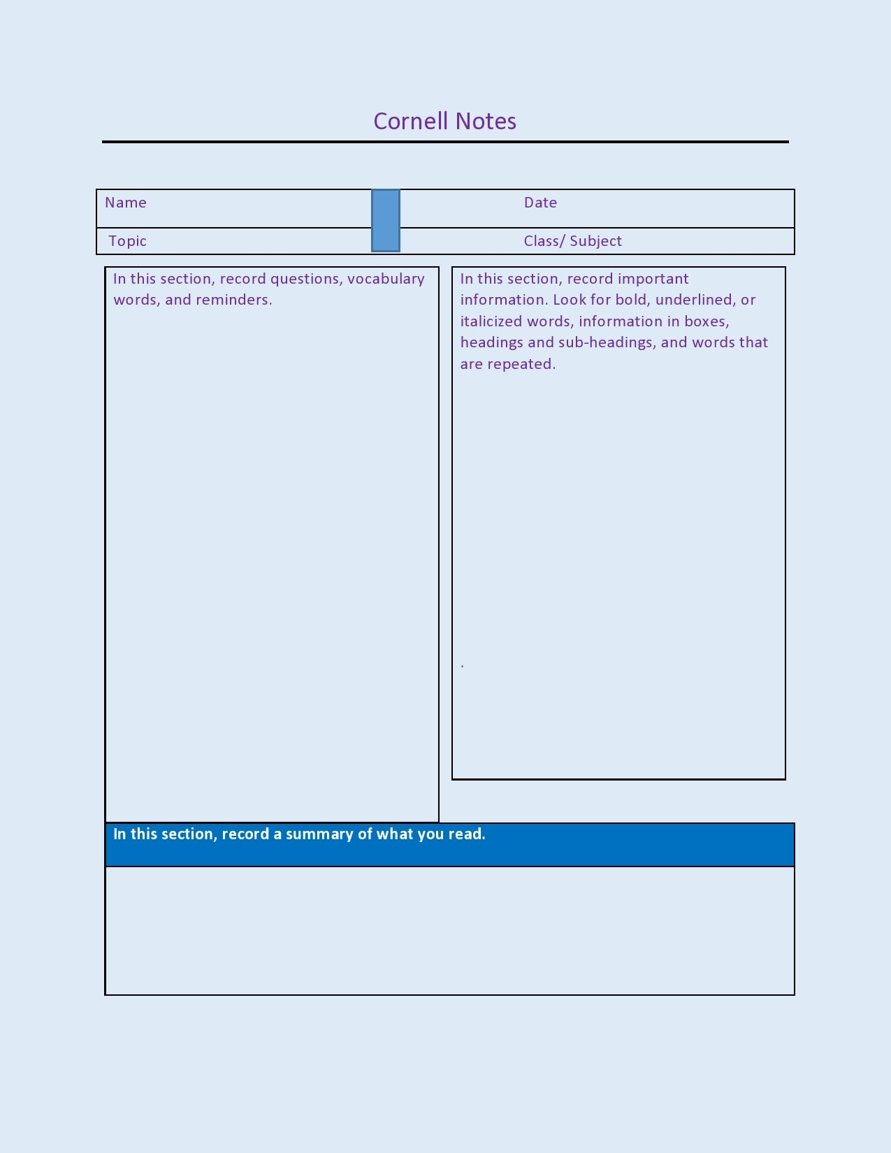 cornell notes template 15