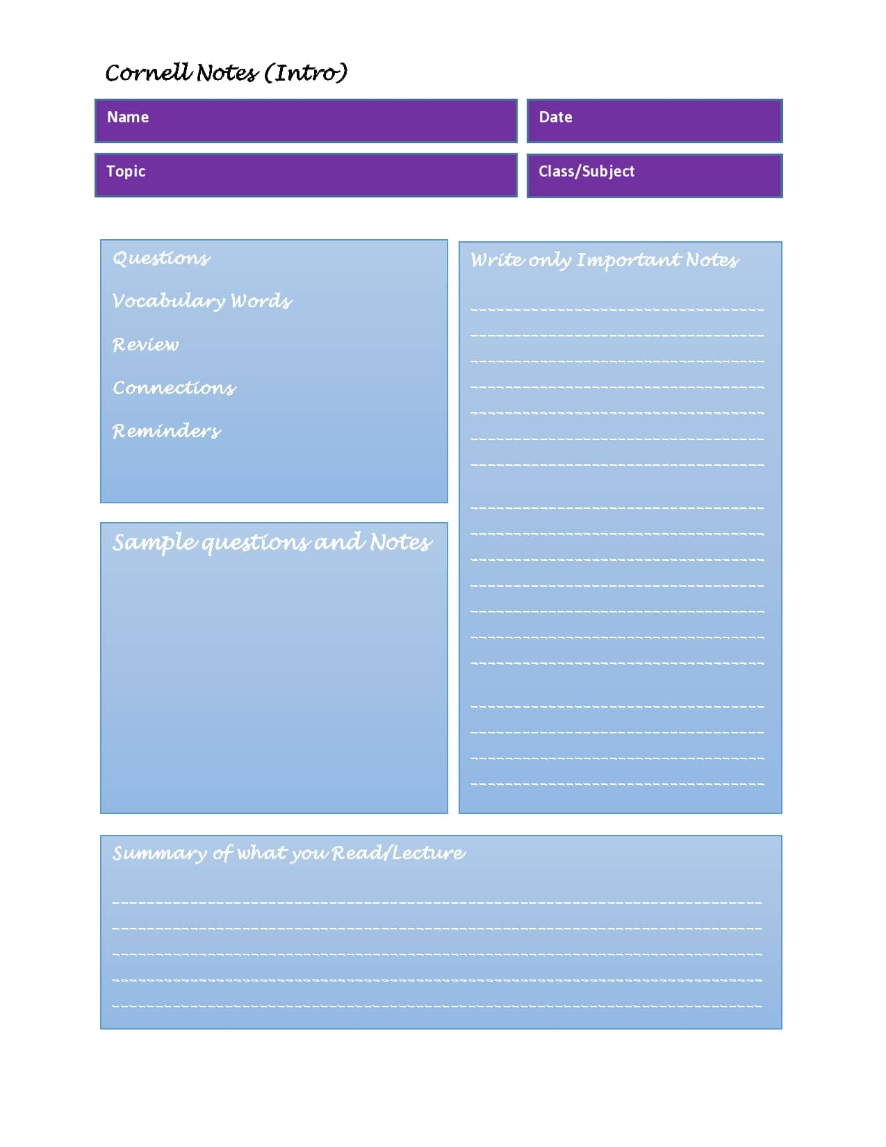 cornell notes template 17
