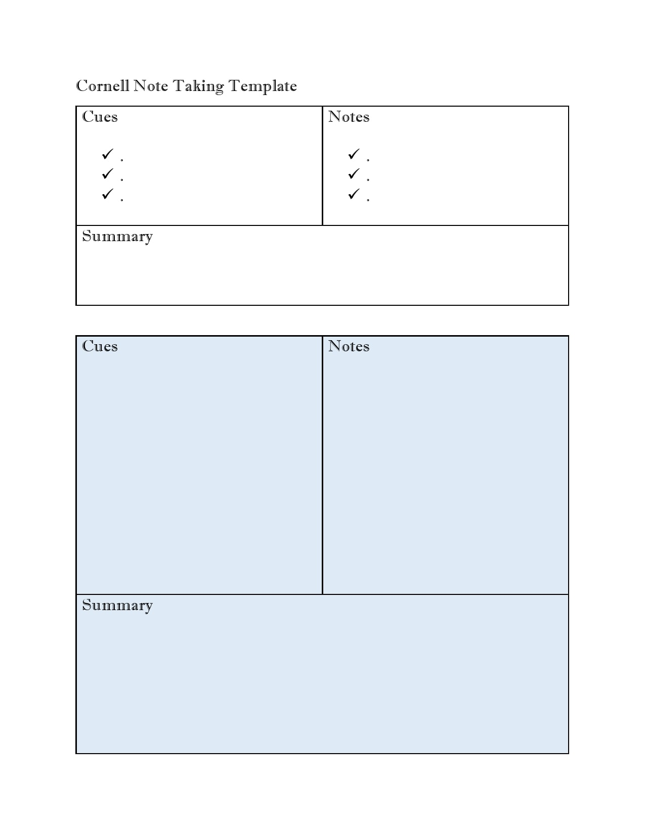 cornell notes template 25