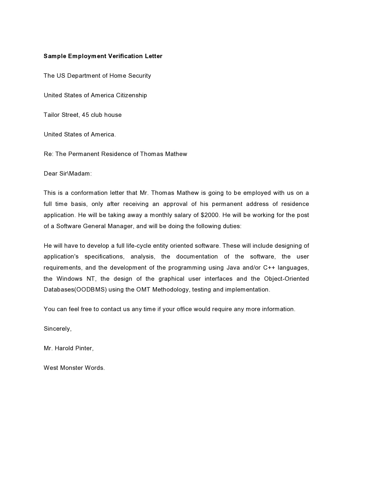 employment verification letter 06