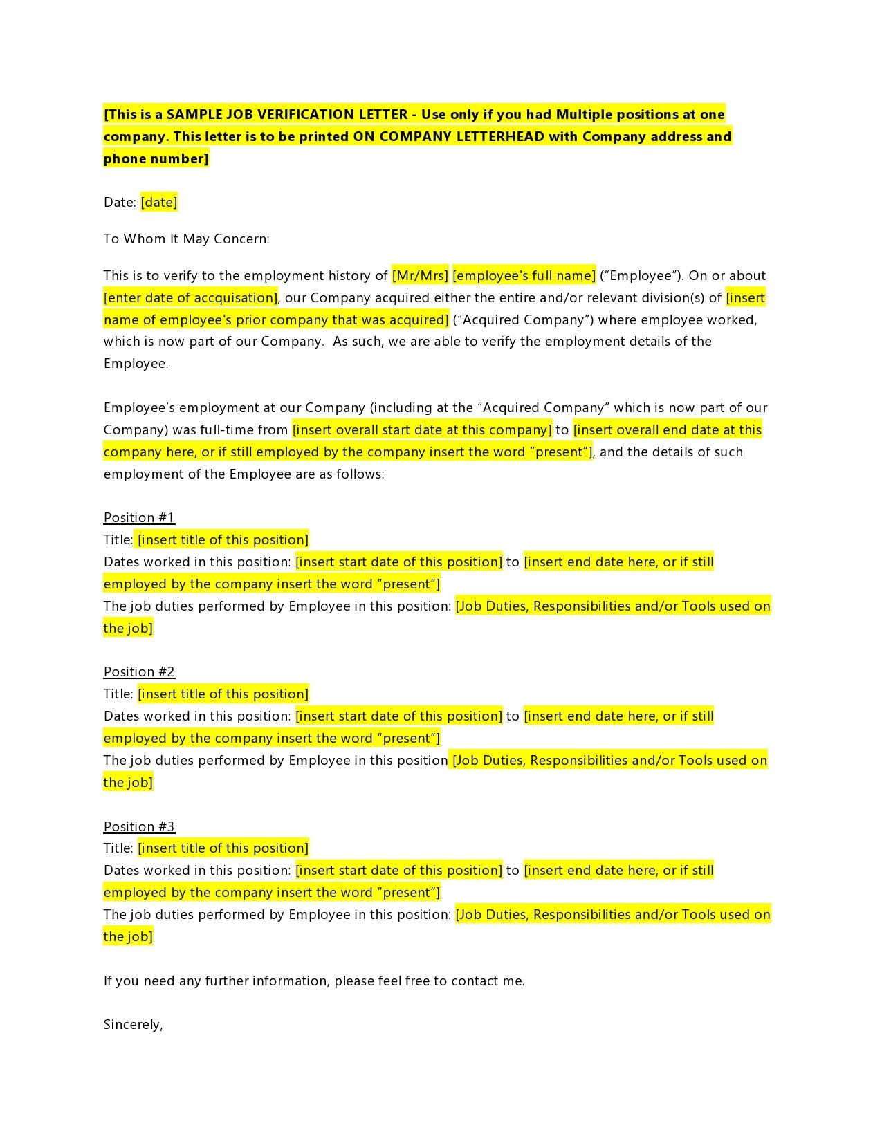 employment verification letter 07