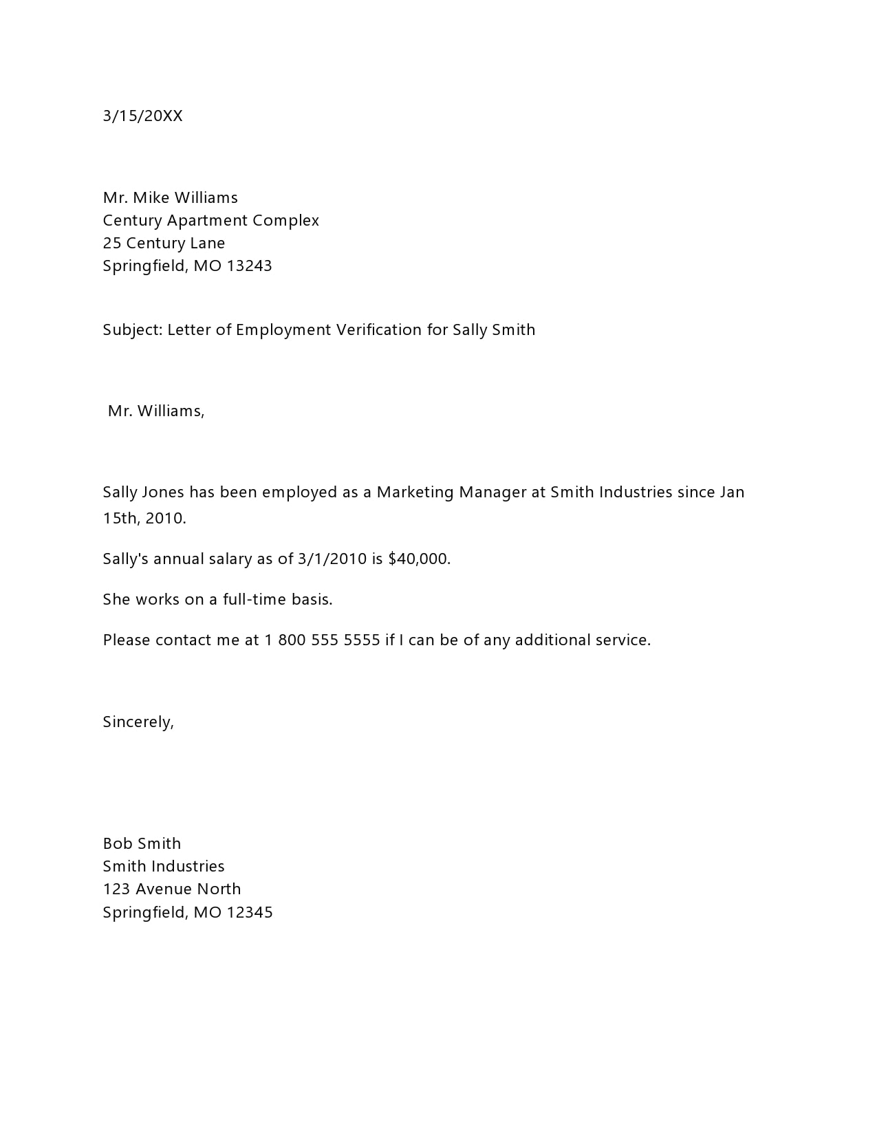 Sample Letter Employment Verification from templatearchive.com