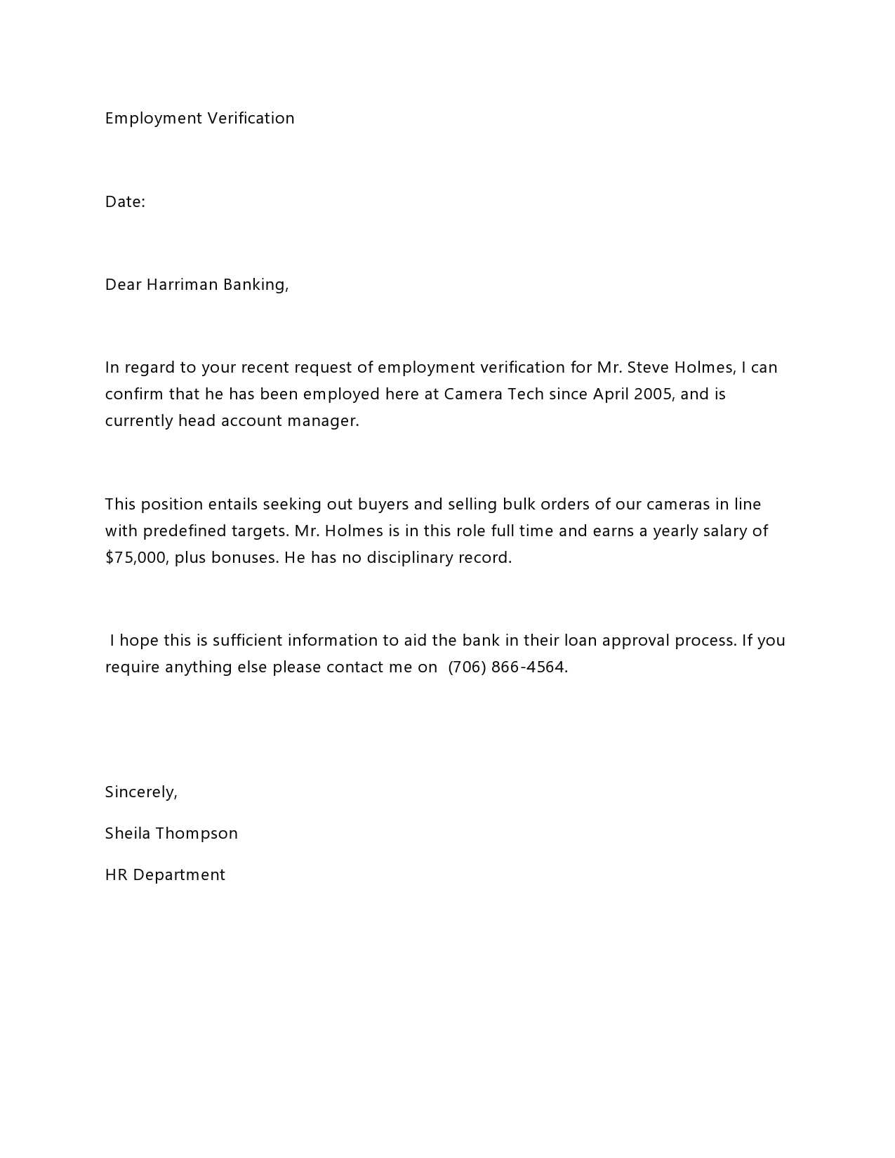 Sample Employee Verification Letter from templatearchive.com