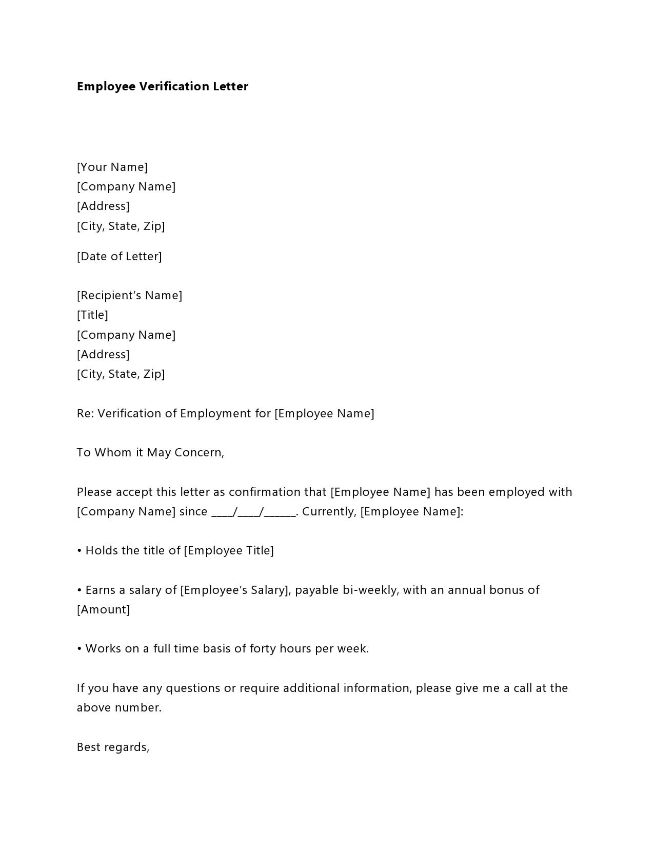 employment verification letter 14
