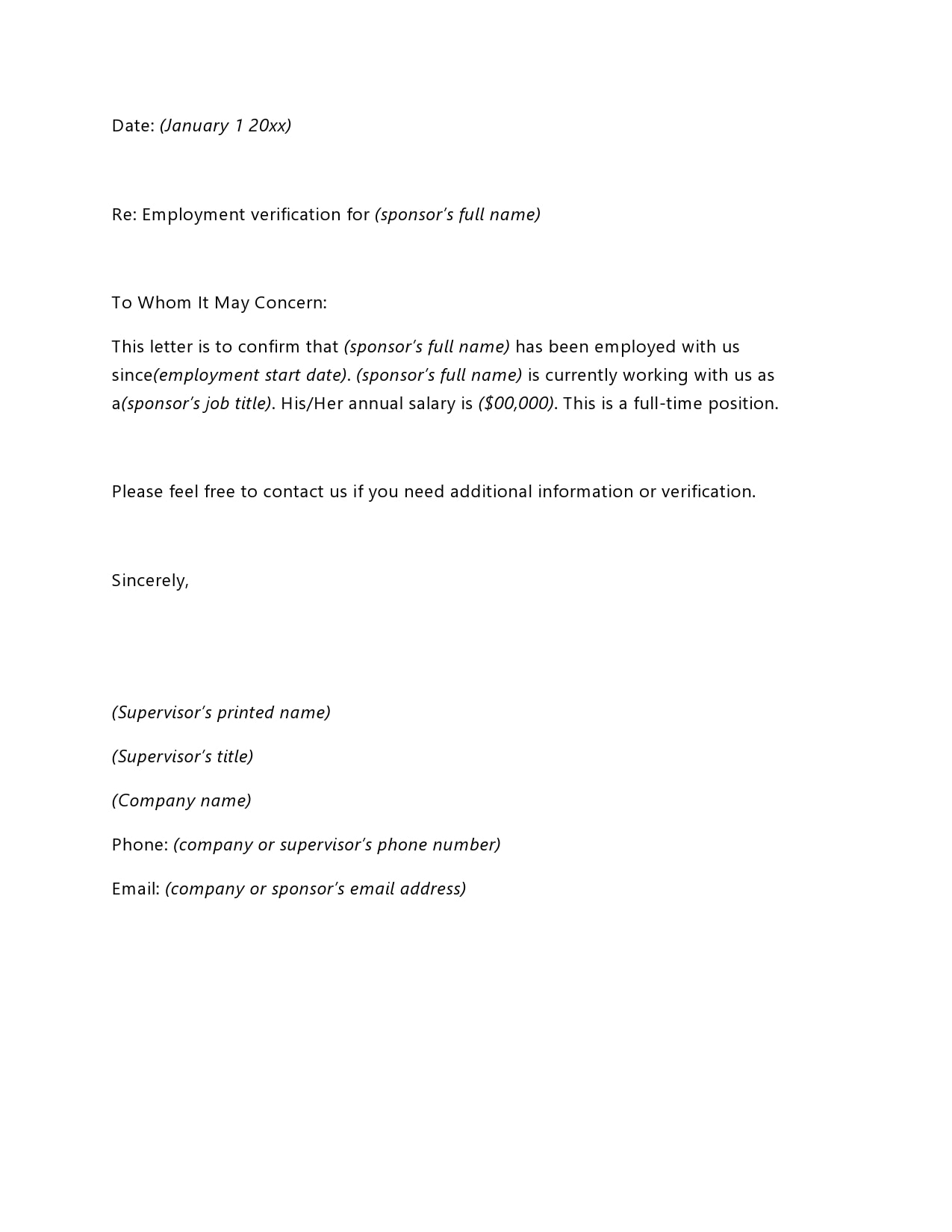 Verification Letter From Employer from templatearchive.com