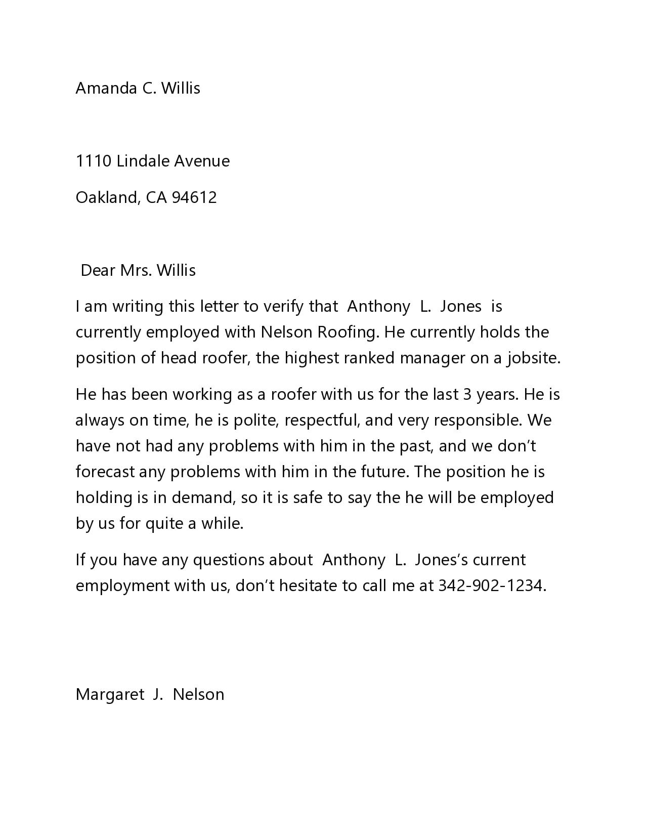 employment verification letter 20