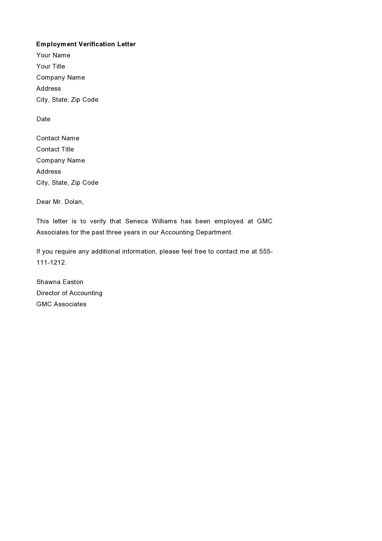 employment verification letter 23