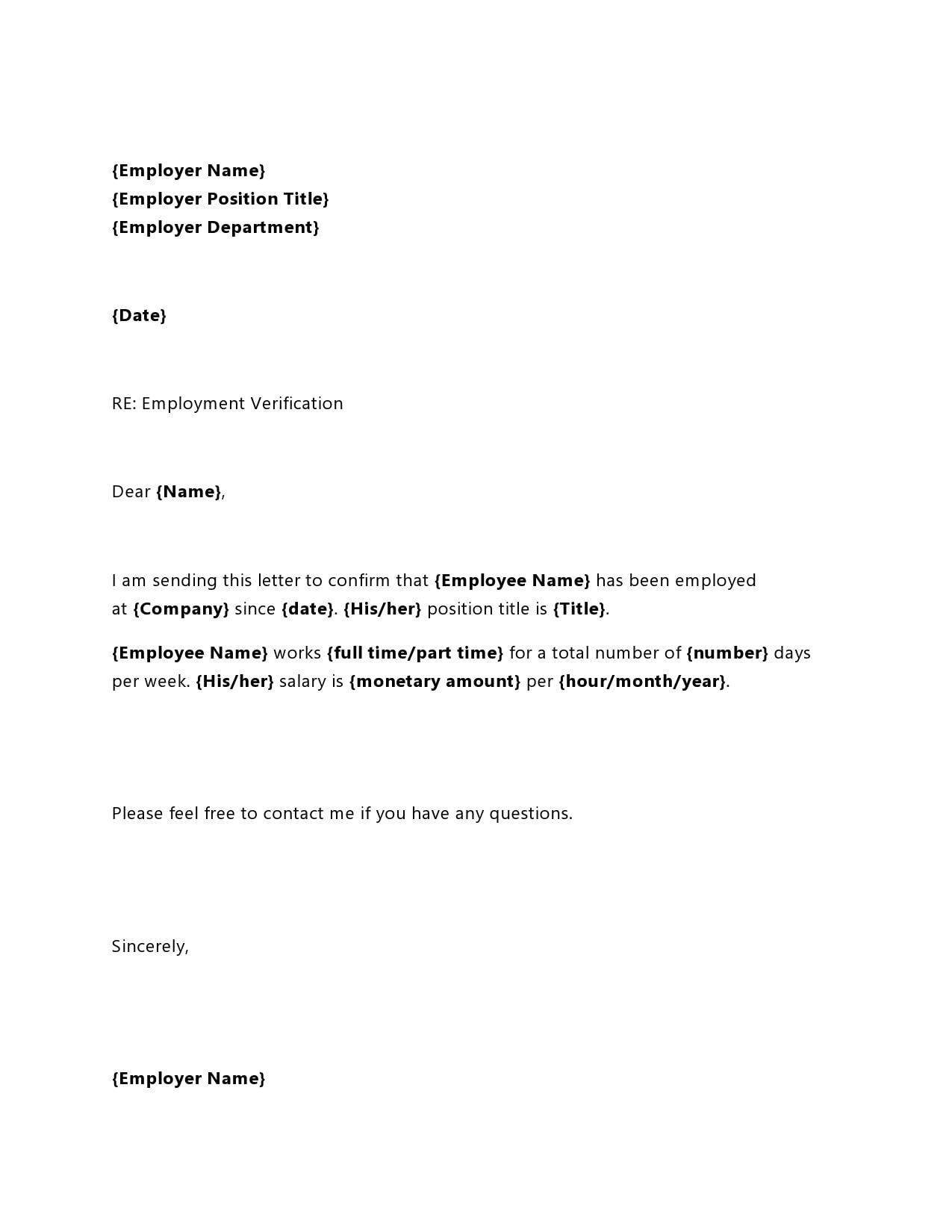employment verification letter 29