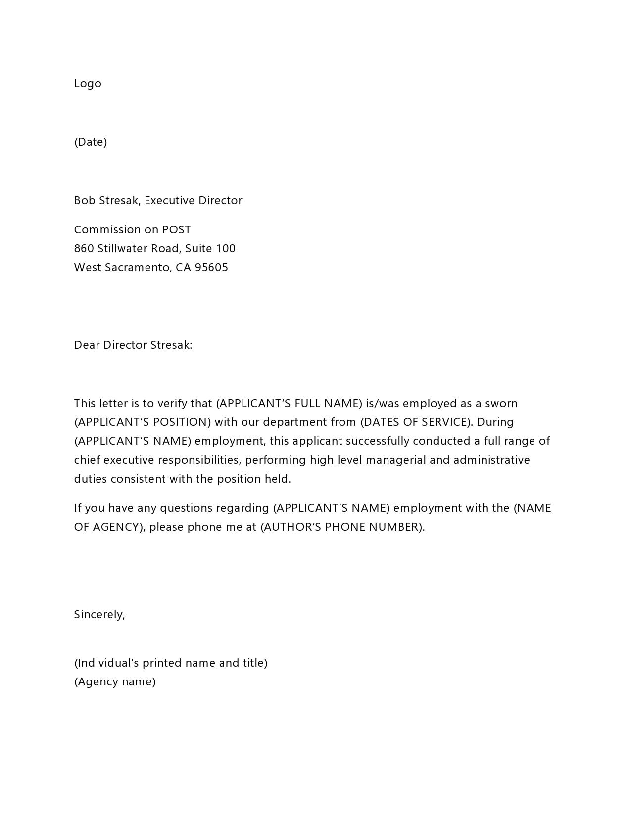 employment verification letter 30