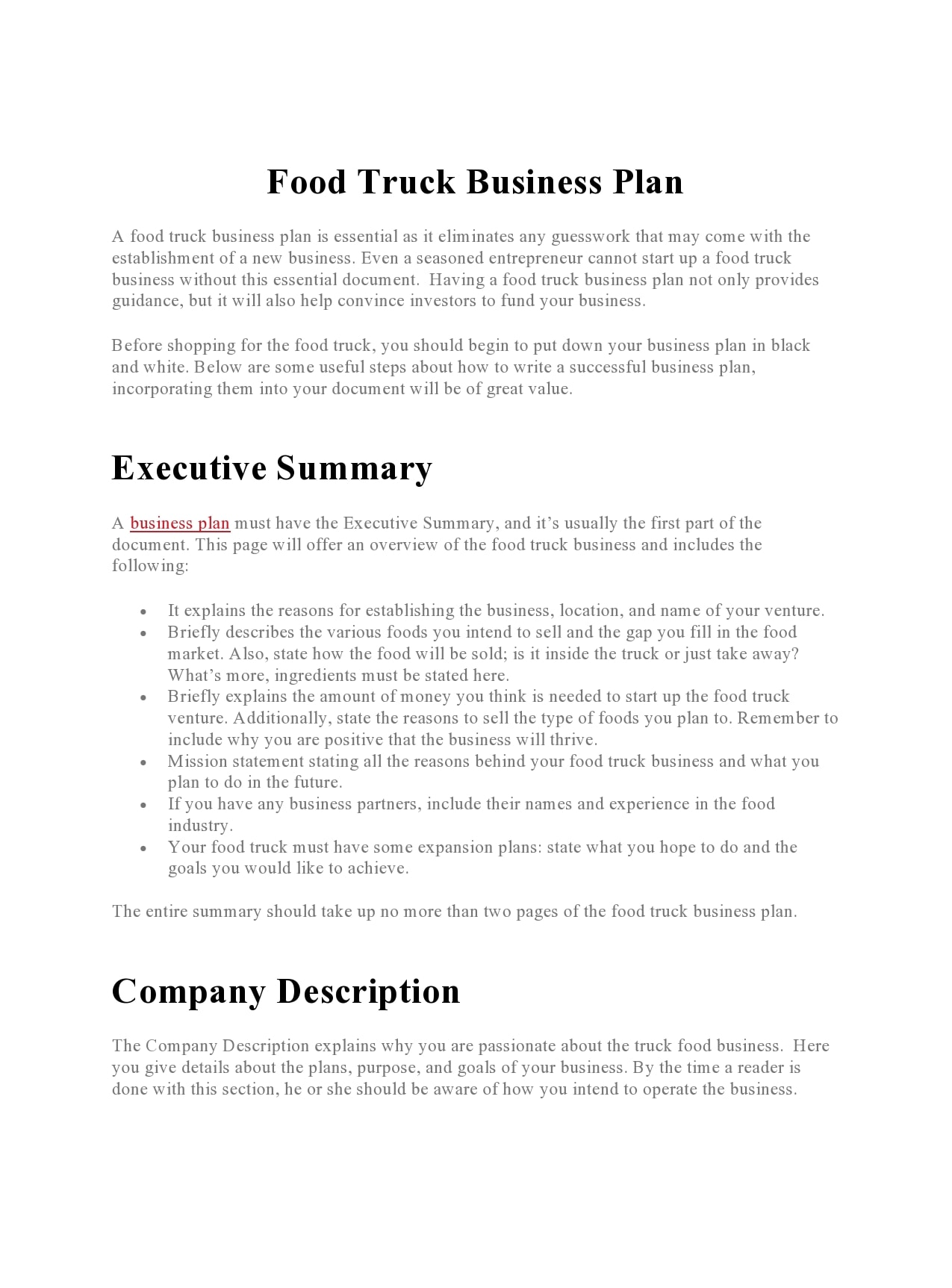 food truck business plan 11
