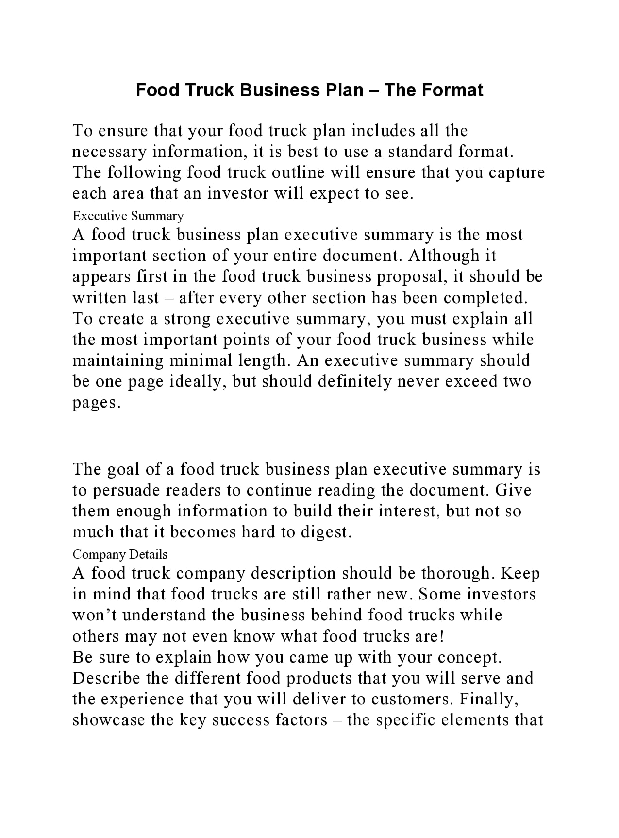 food truck business plan 13