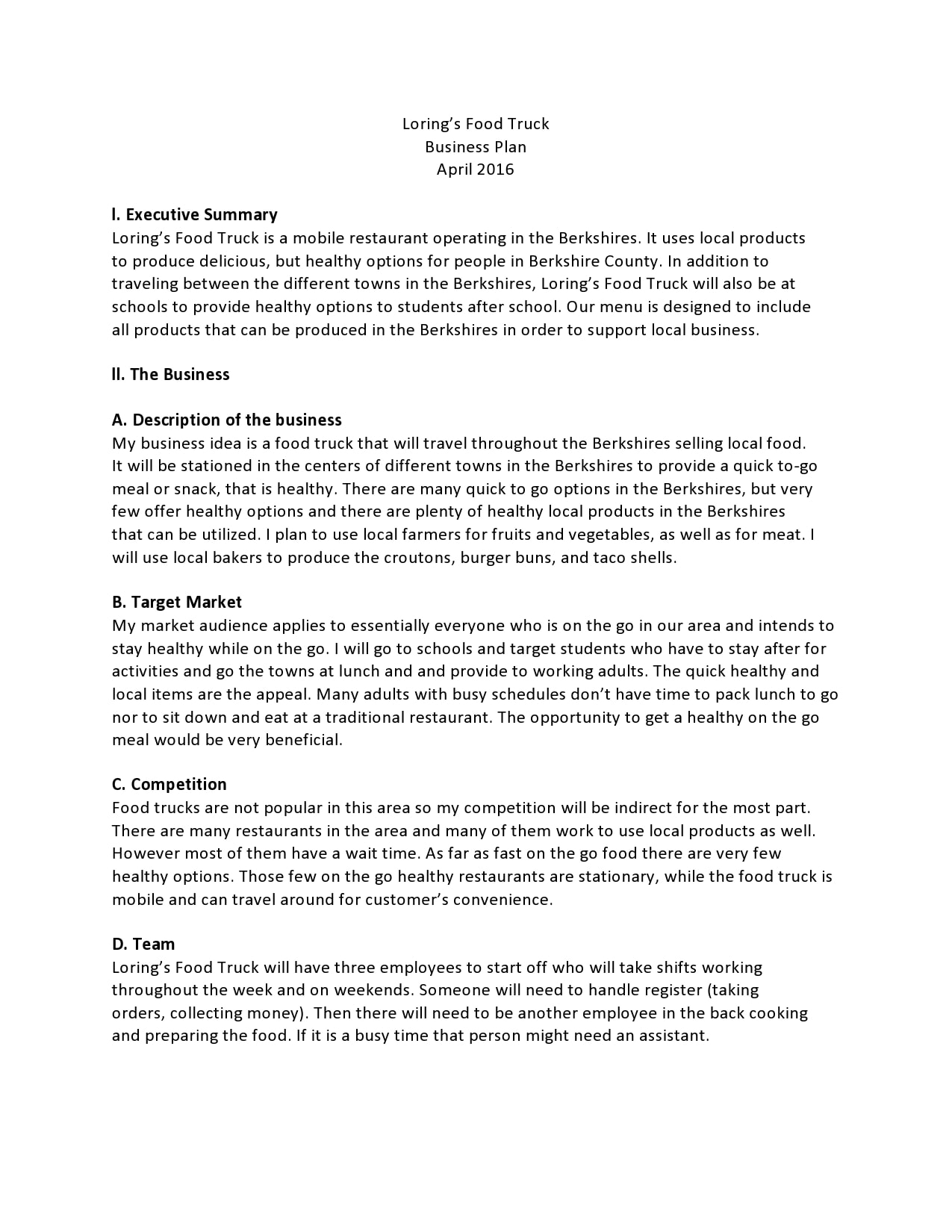 food truck business plan 24