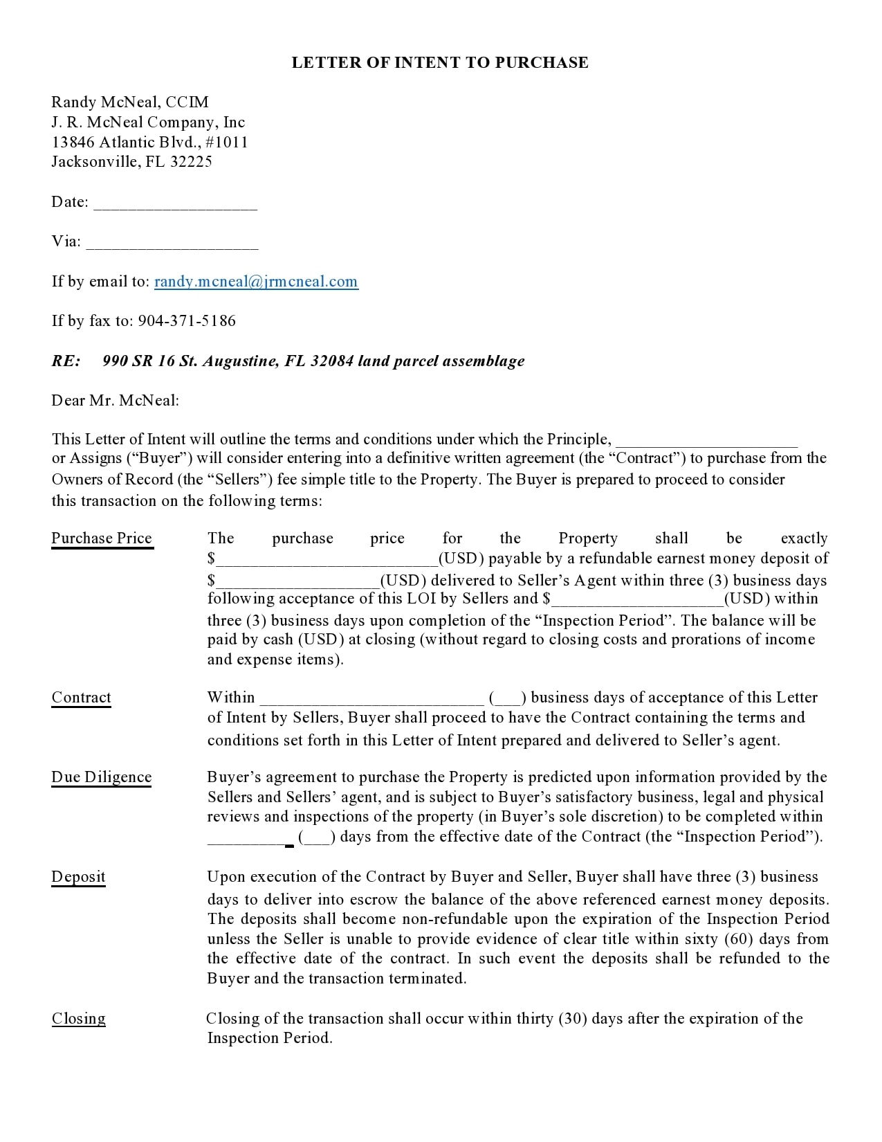 letter of intent to purchase 07