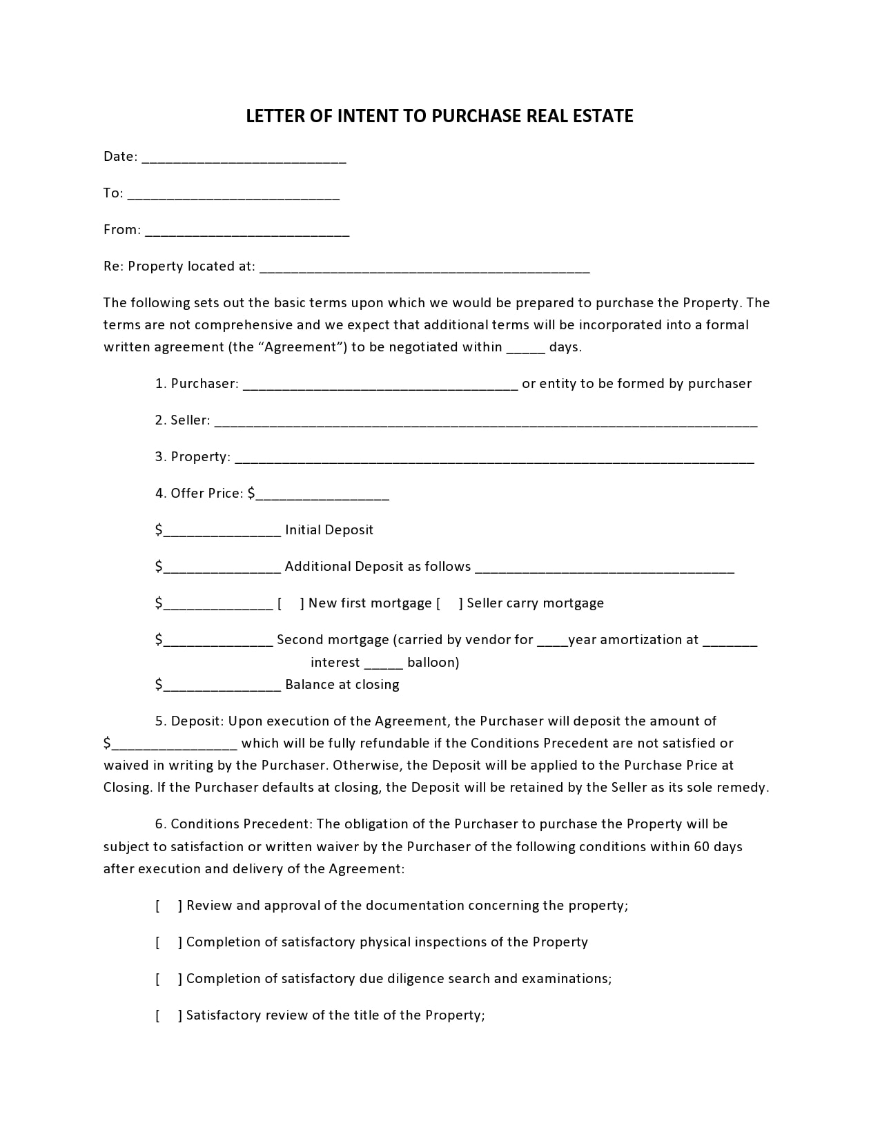 letter of intent to purchase 10