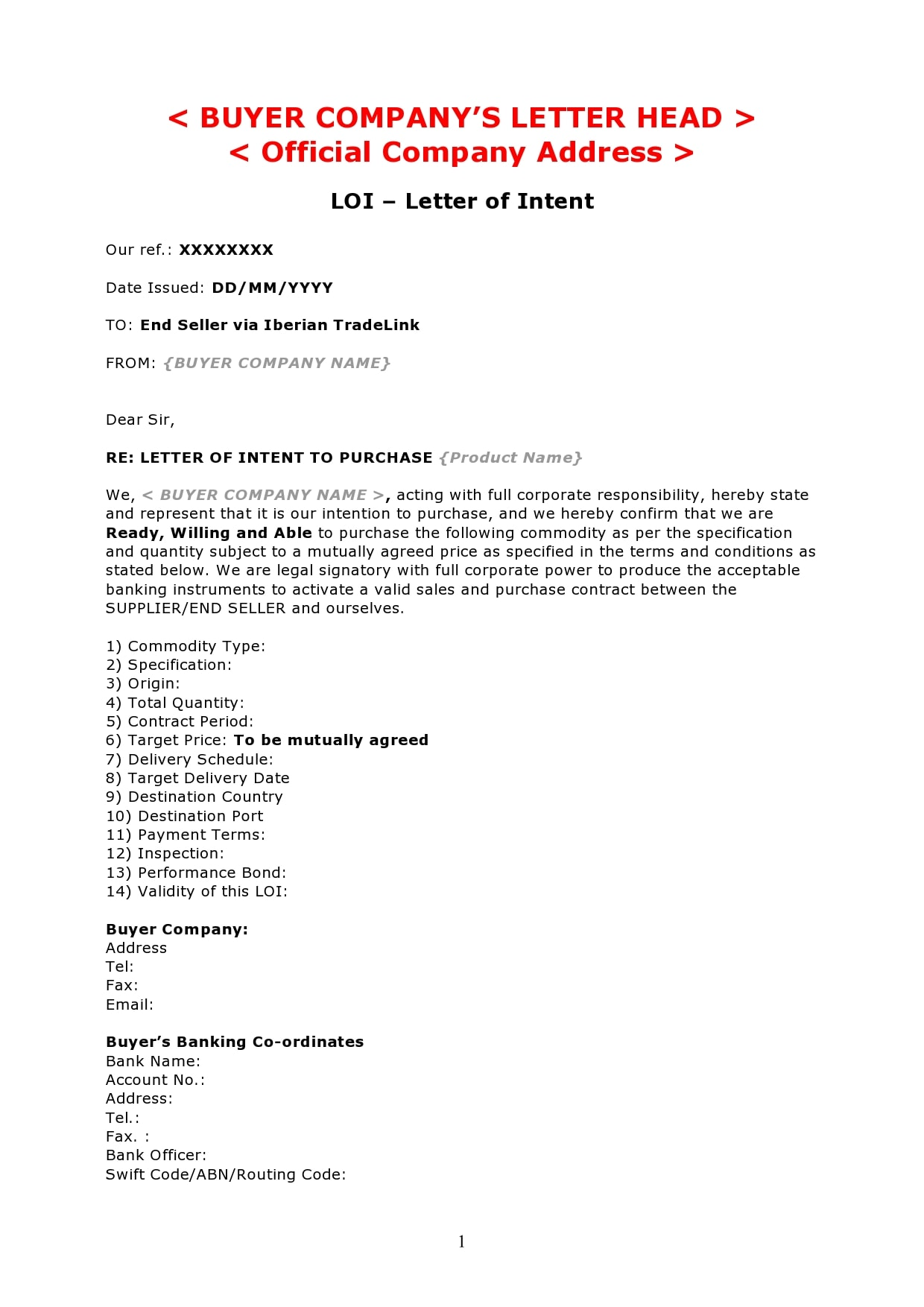 letter of intent to purchase 11