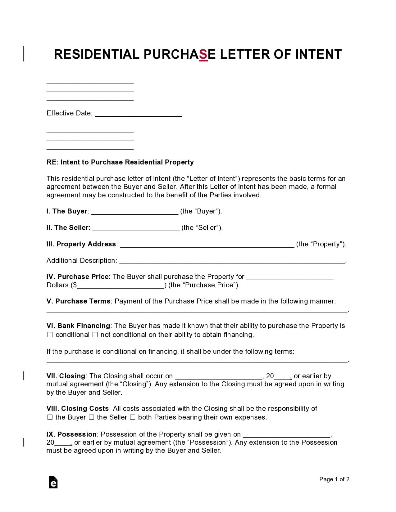 letter of intent to purchase 15