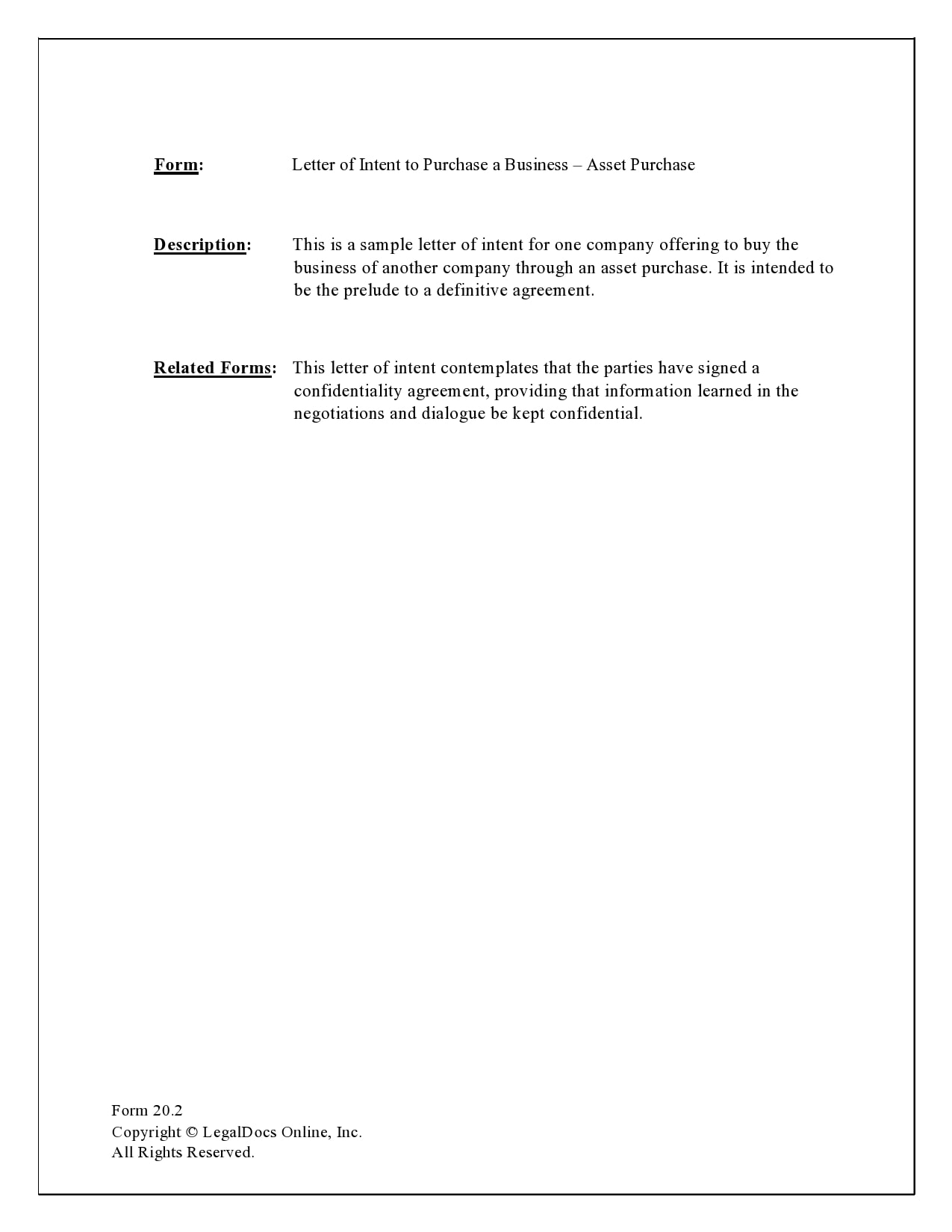 letter of intent to purchase 17