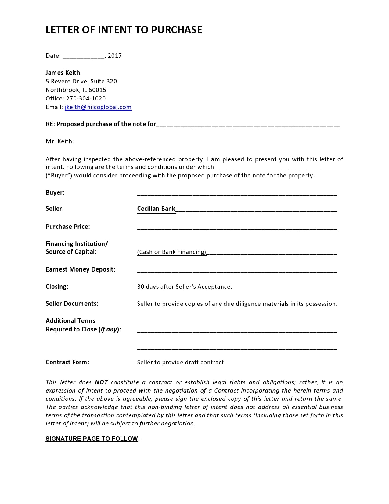 letter of intent to purchase 22