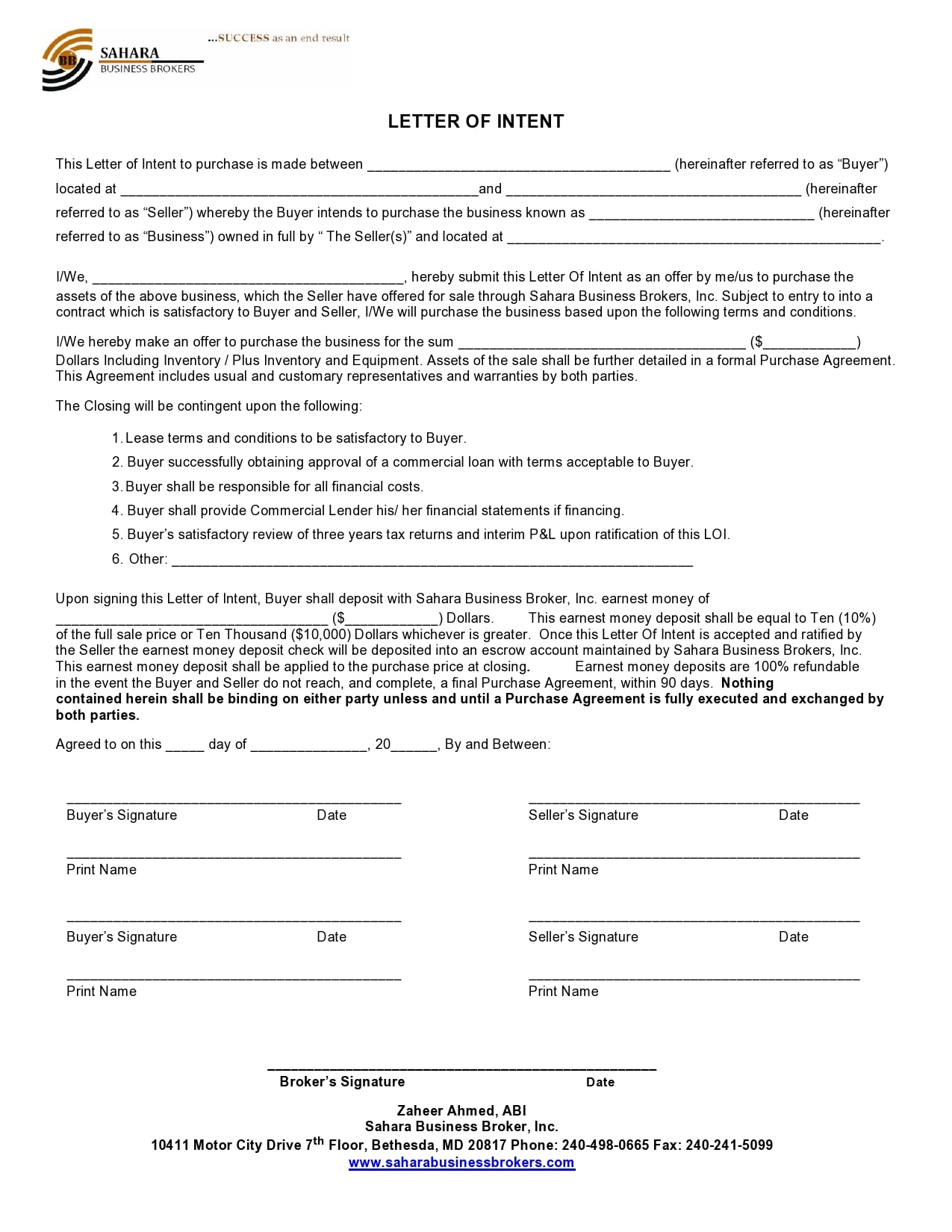 letter of intent to purchase 25