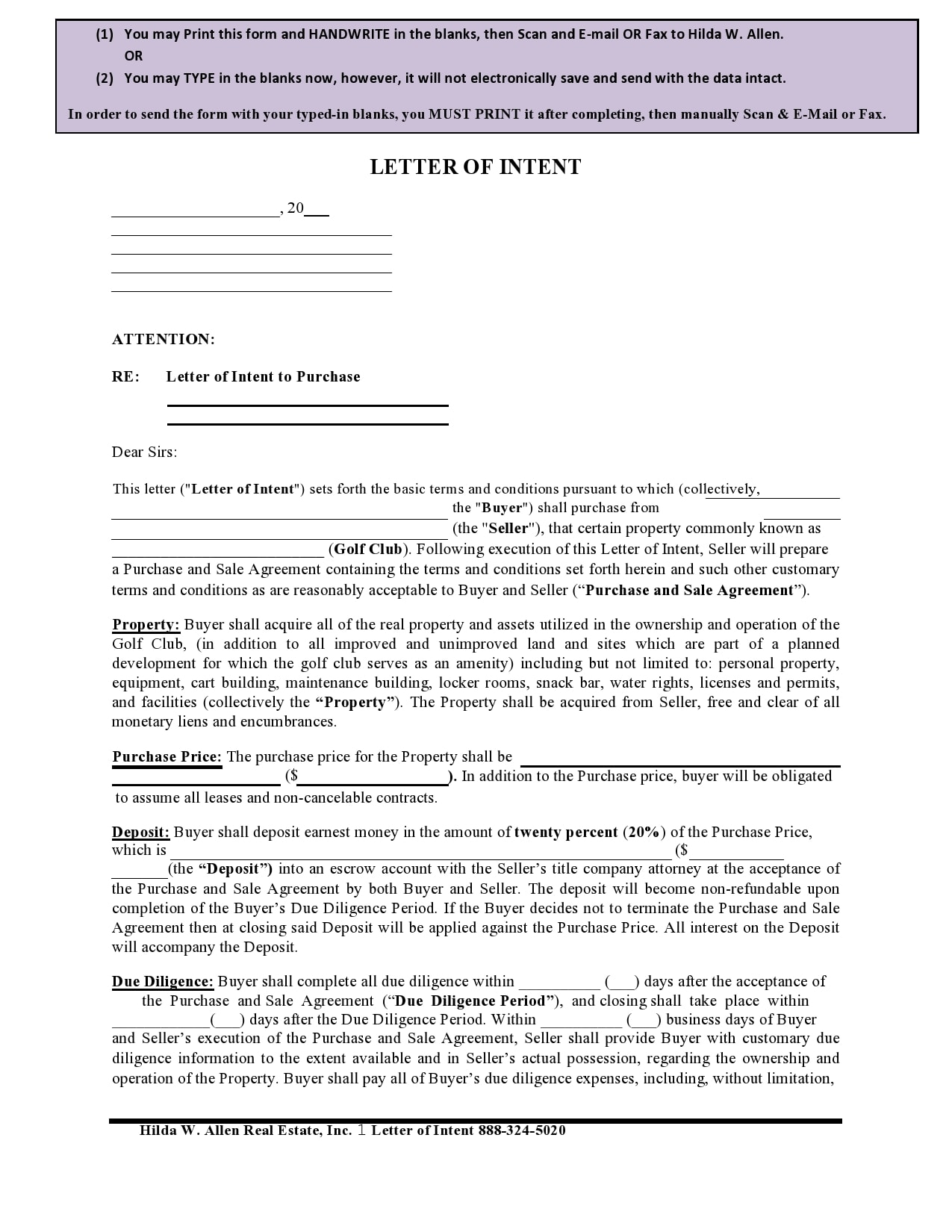 letter of intent to purchase 26