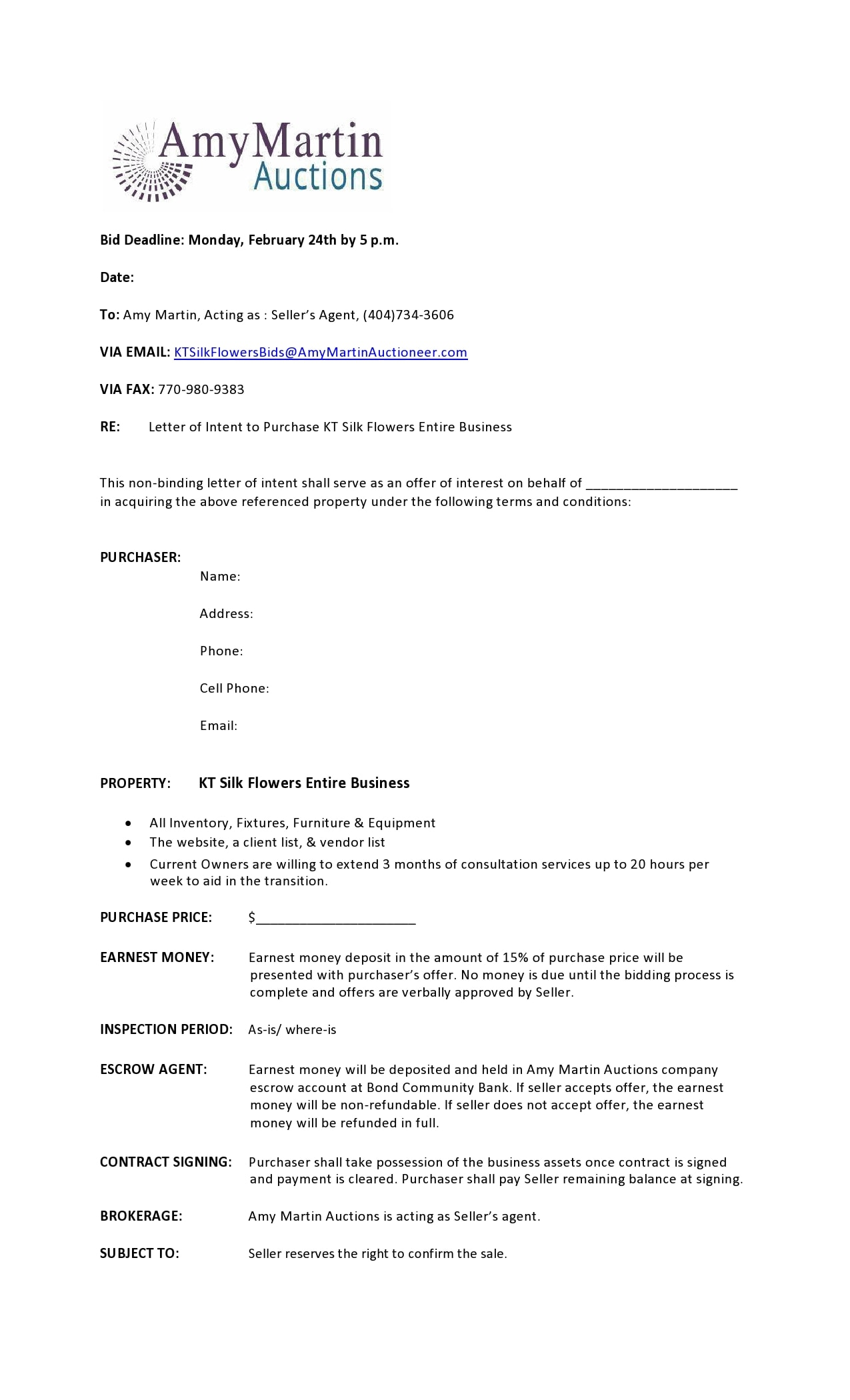 letter of intent to purchase 27