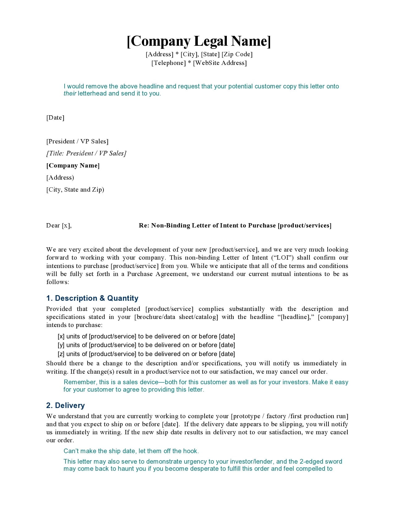 letter of intent to purchase 28