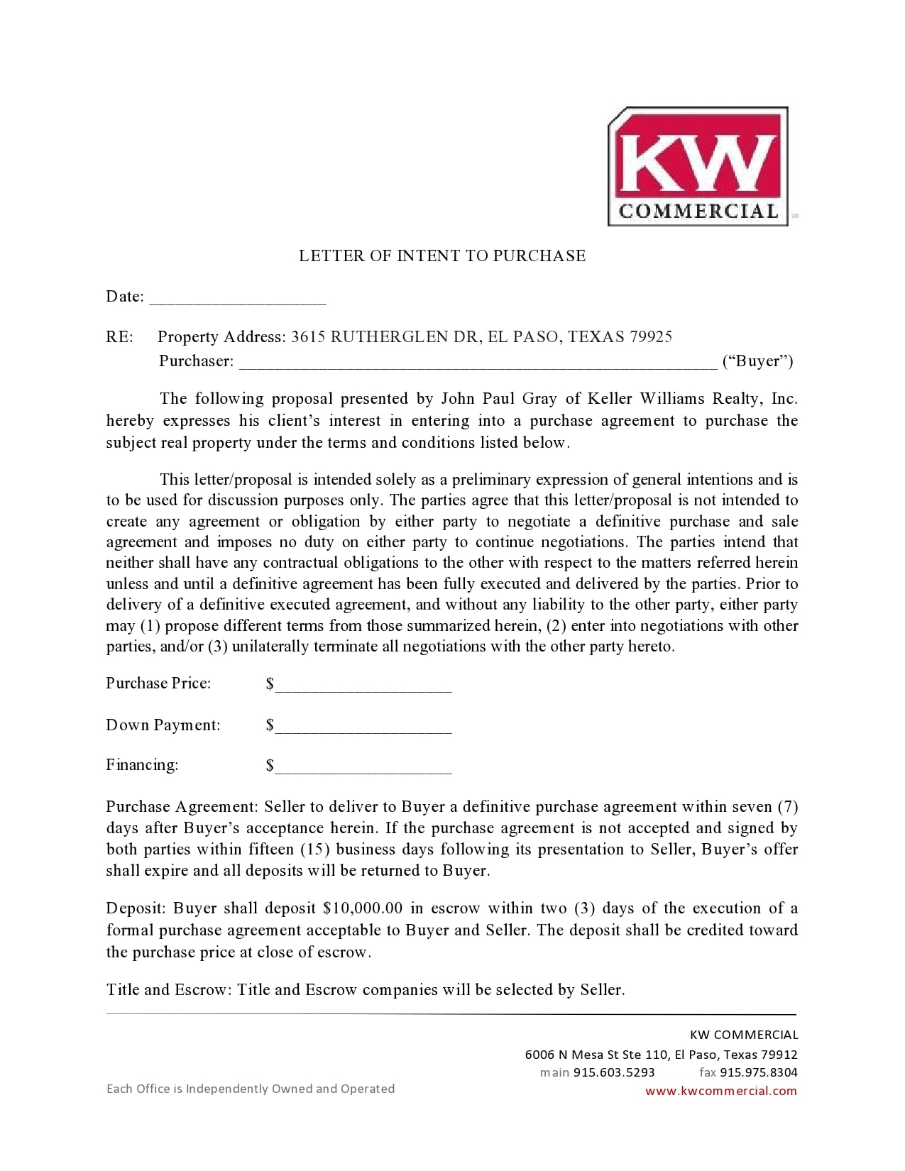 letter of intent to purchase 31