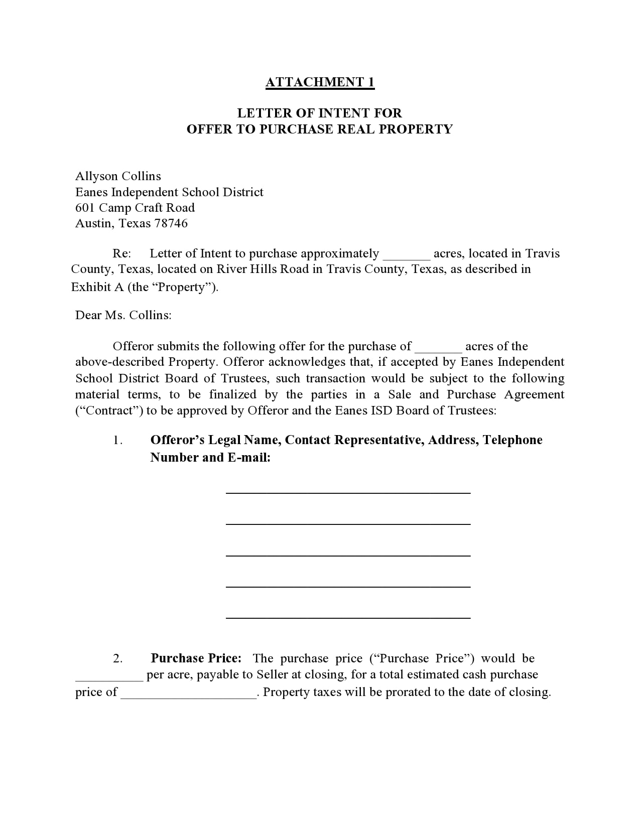 Simple Letter Of Intent To Purchase Business from templatearchive.com