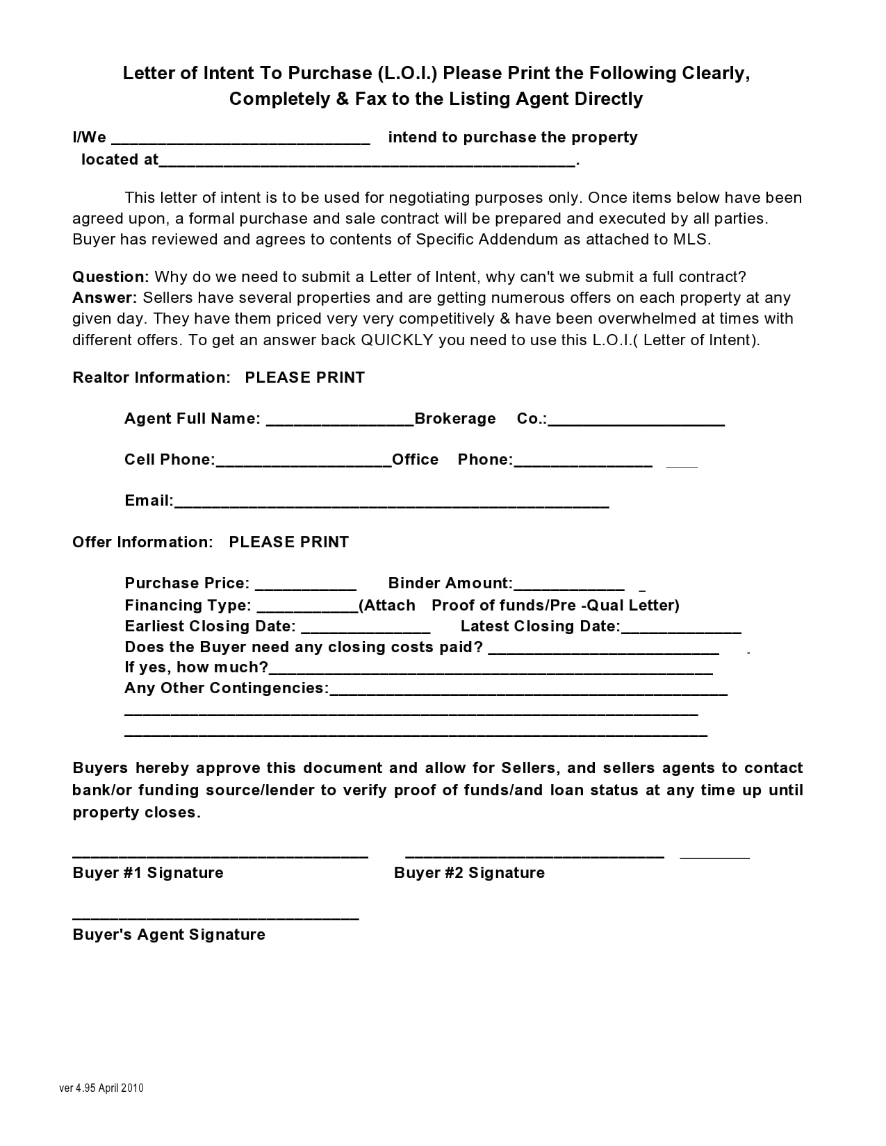 letter of intent to purchase 39