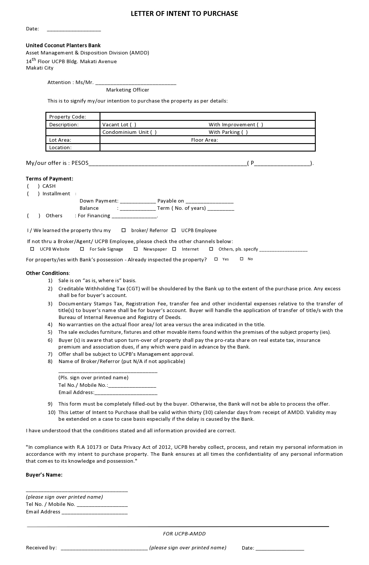 letter of intent to purchase 41