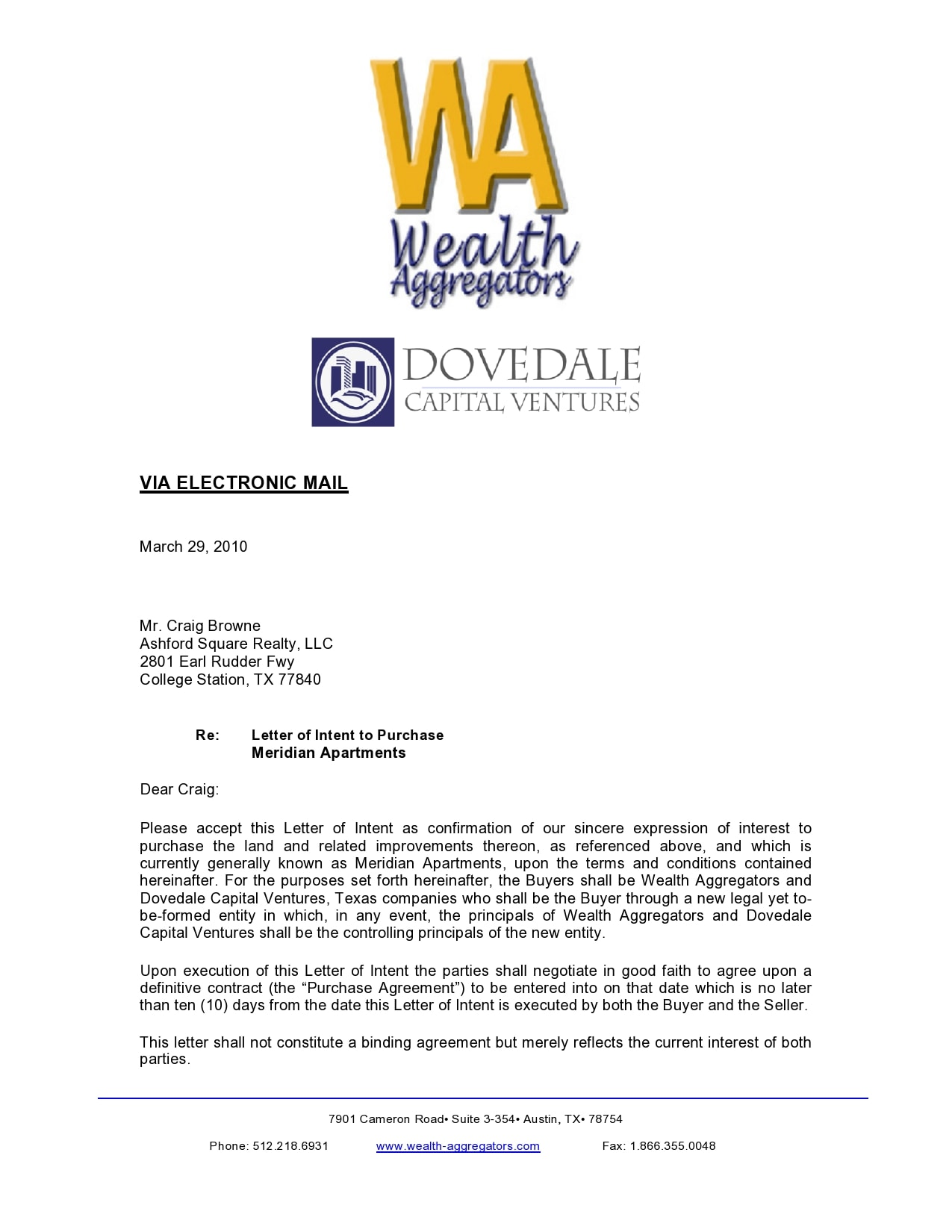 letter of intent to purchase 44
