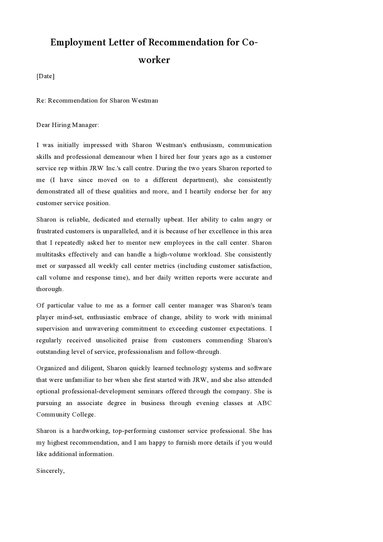 Recommendation Letter Sample For Job from templatearchive.com