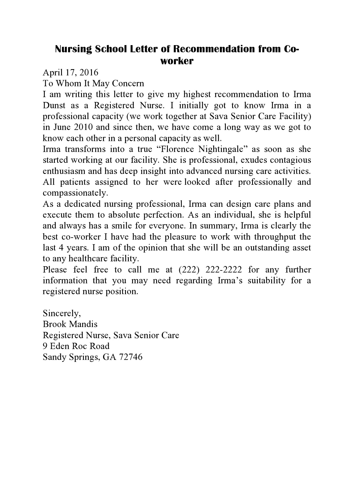 letter of recommendation for coworker 10