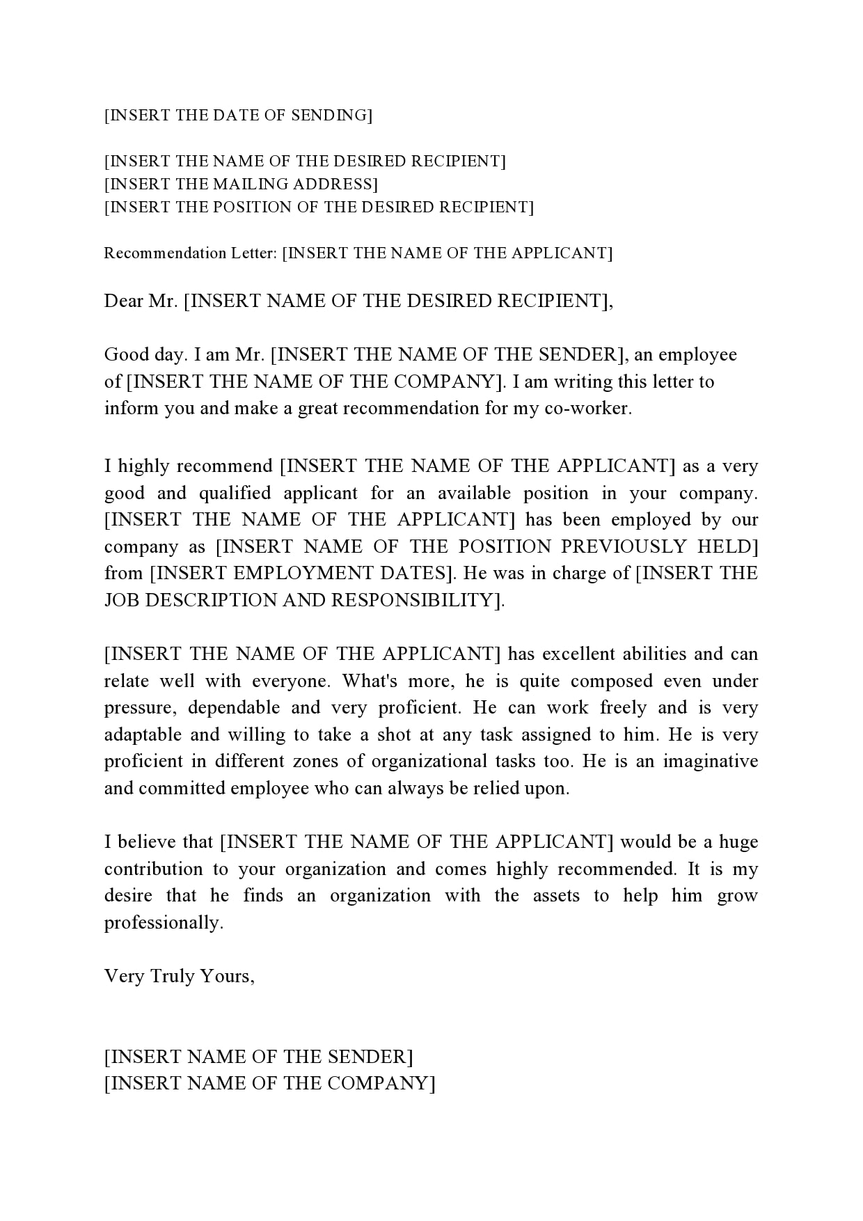 Recommendation Letter For Coworker from templatearchive.com