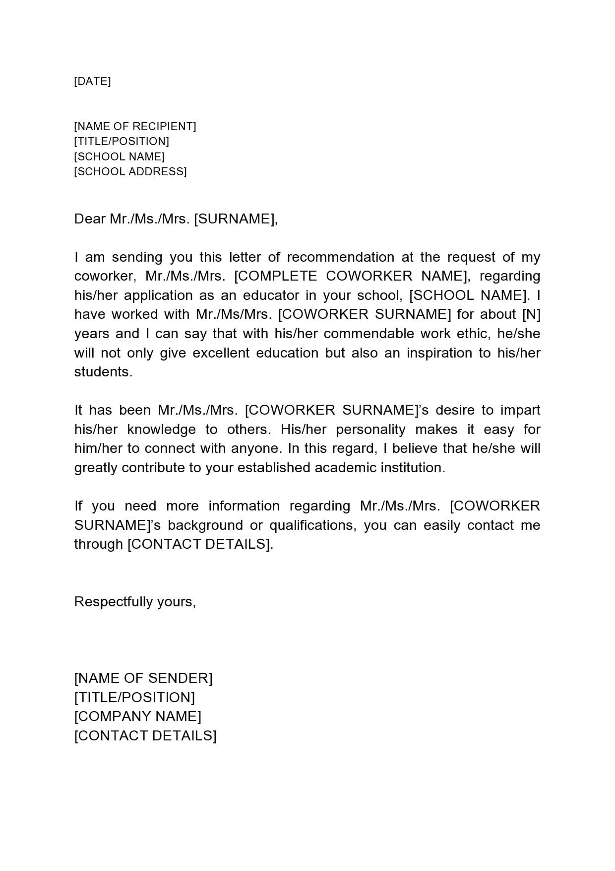 Short Recommendation Letter For Student from templatearchive.com