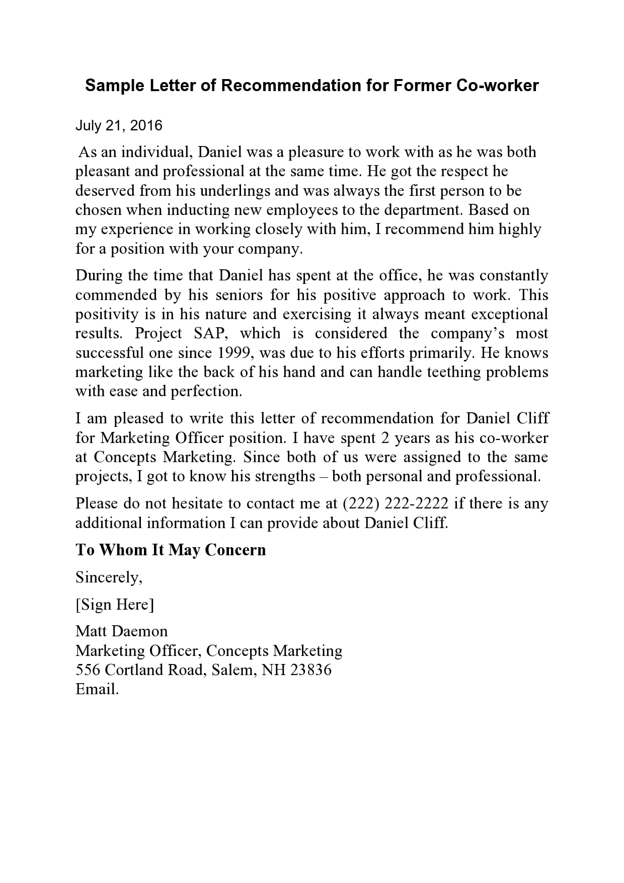 letter of recommendation for coworker 15