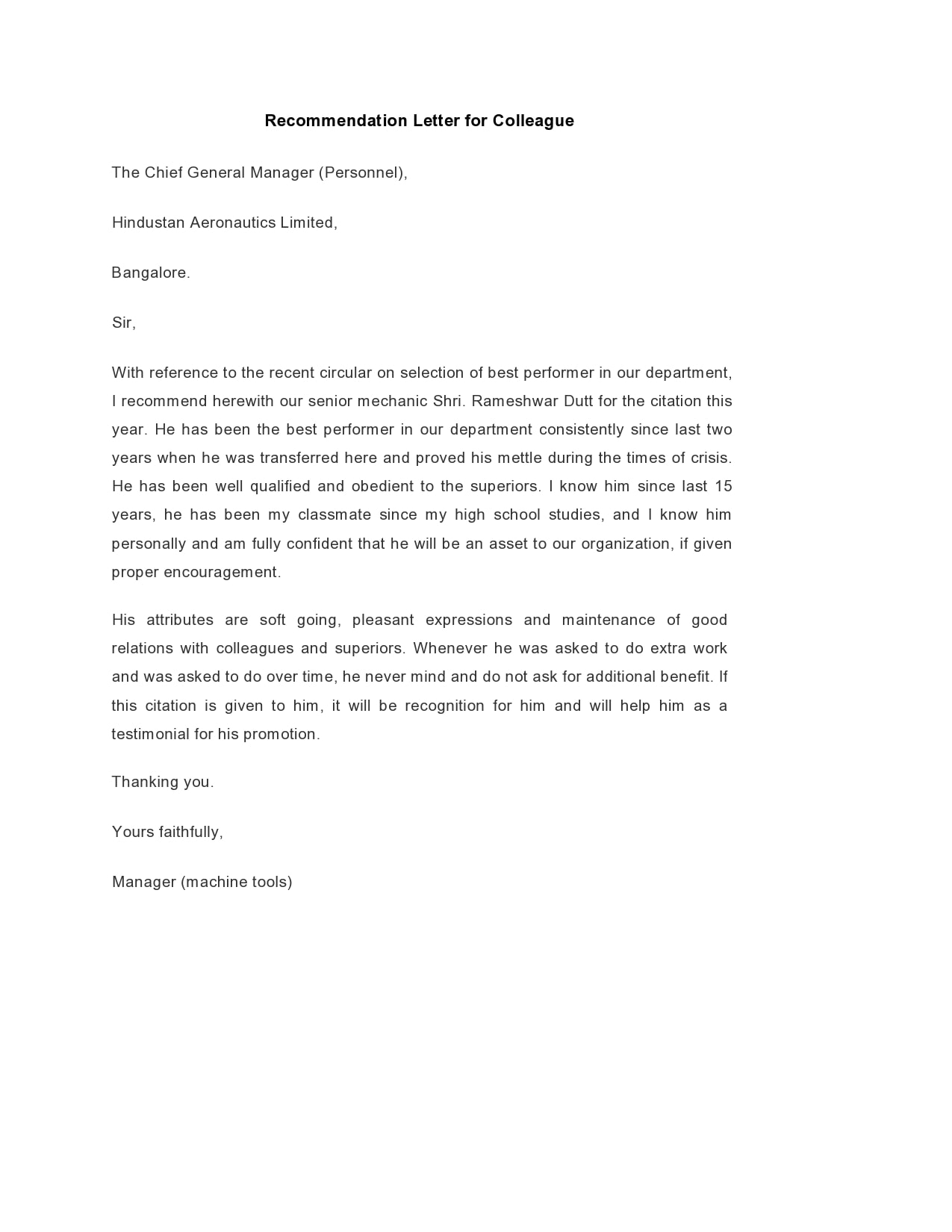 Letter Of Recommendation For A Friend And Colleague from templatearchive.com