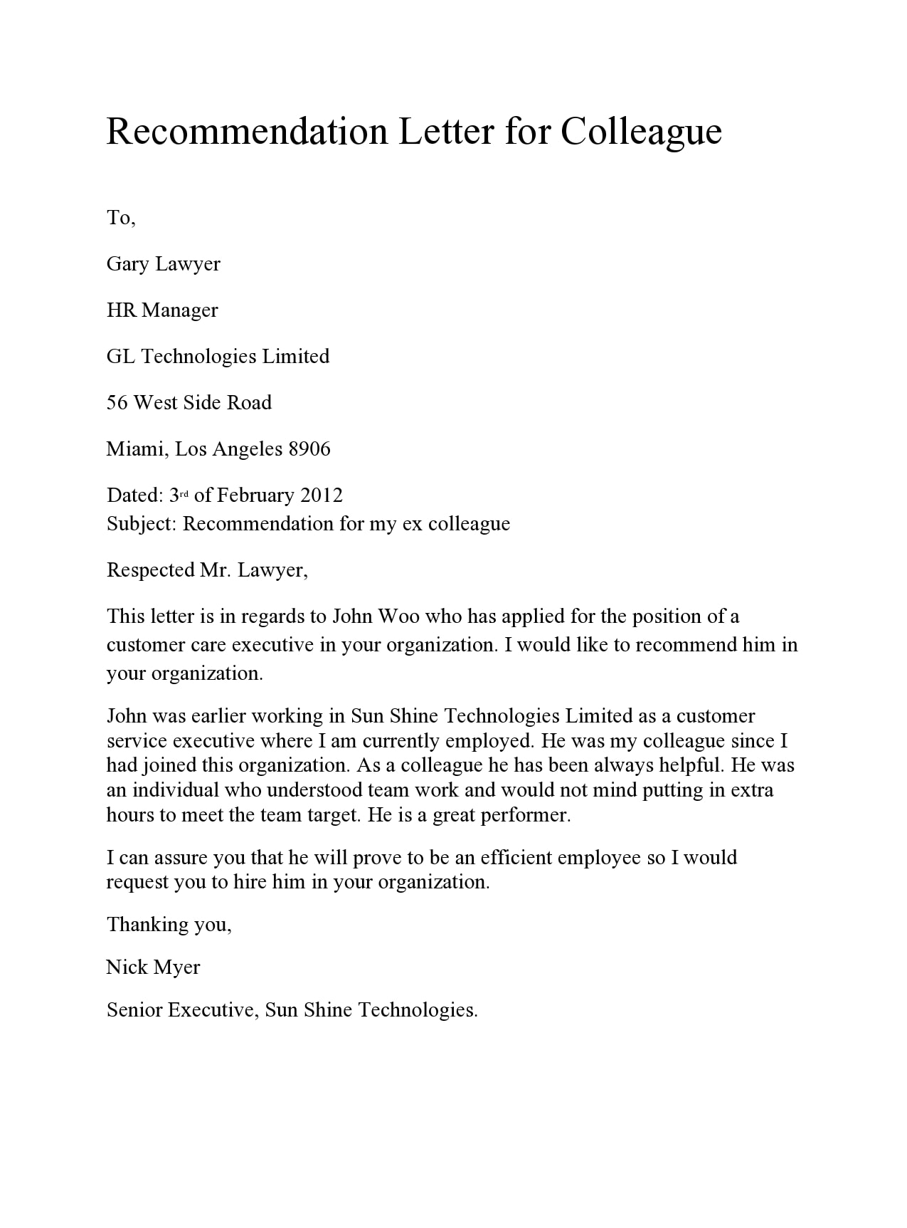30 letter of recommendation for coworker examples