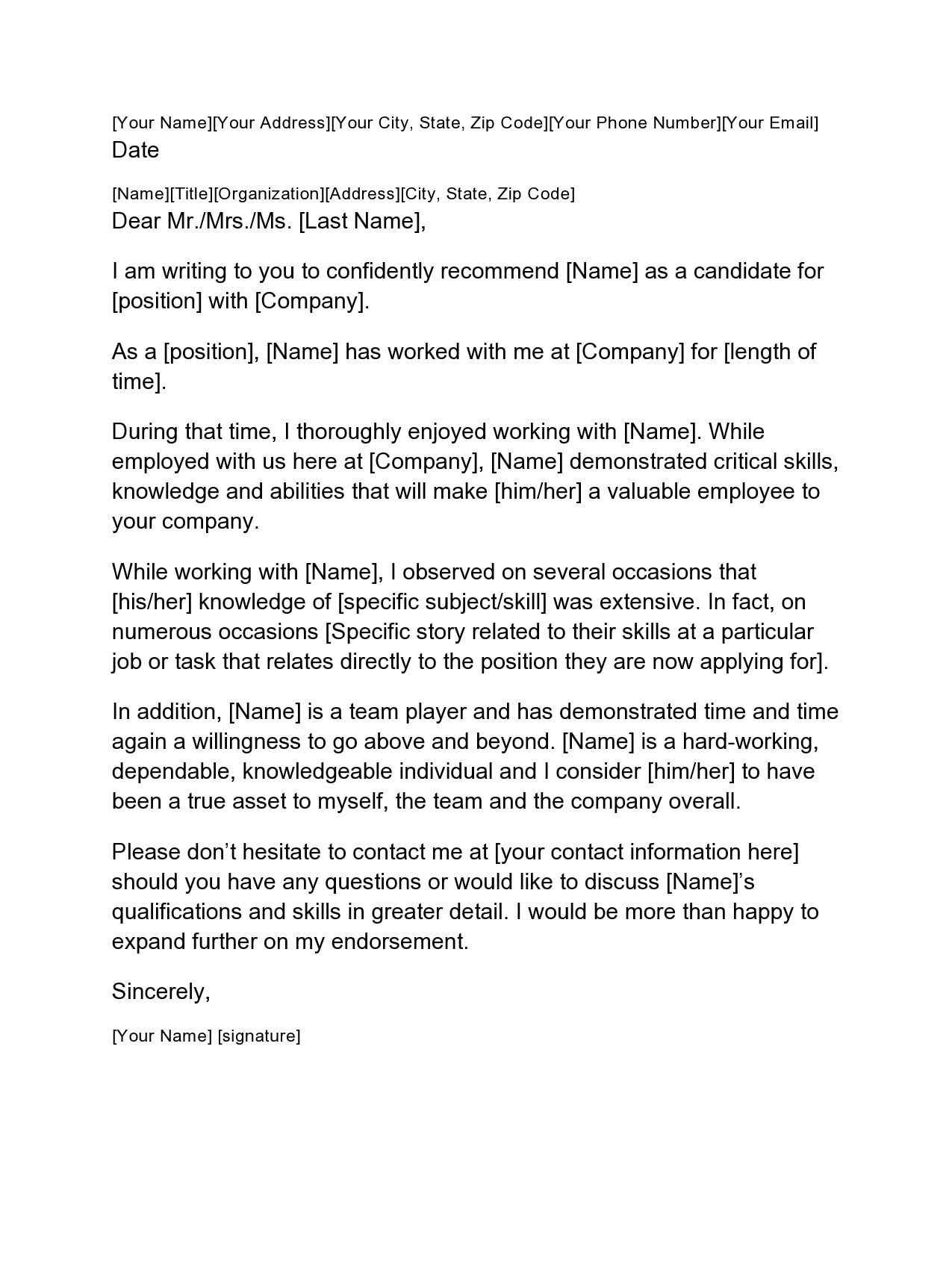 letter of recommendation for coworker 29