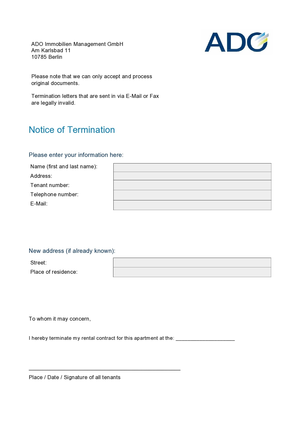 notice of termination 16