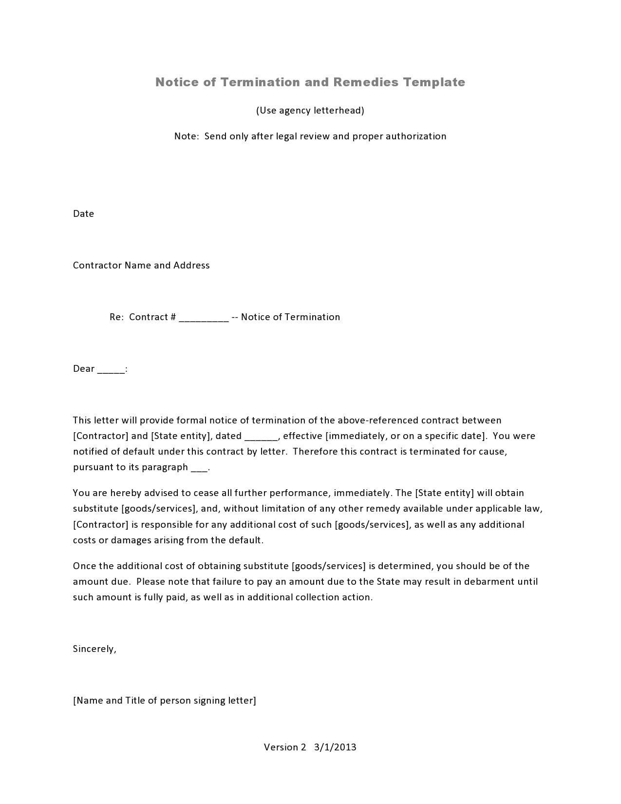 notice of termination 17