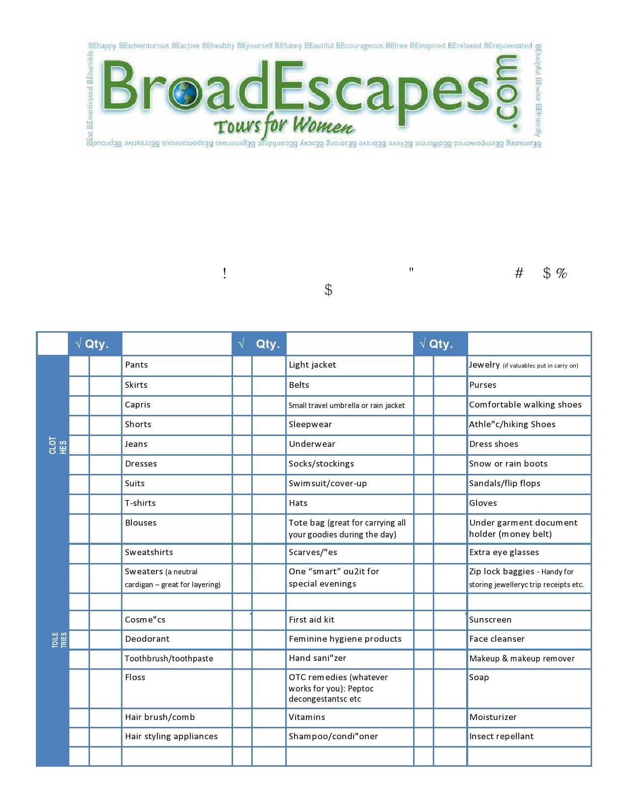 packing list template 23