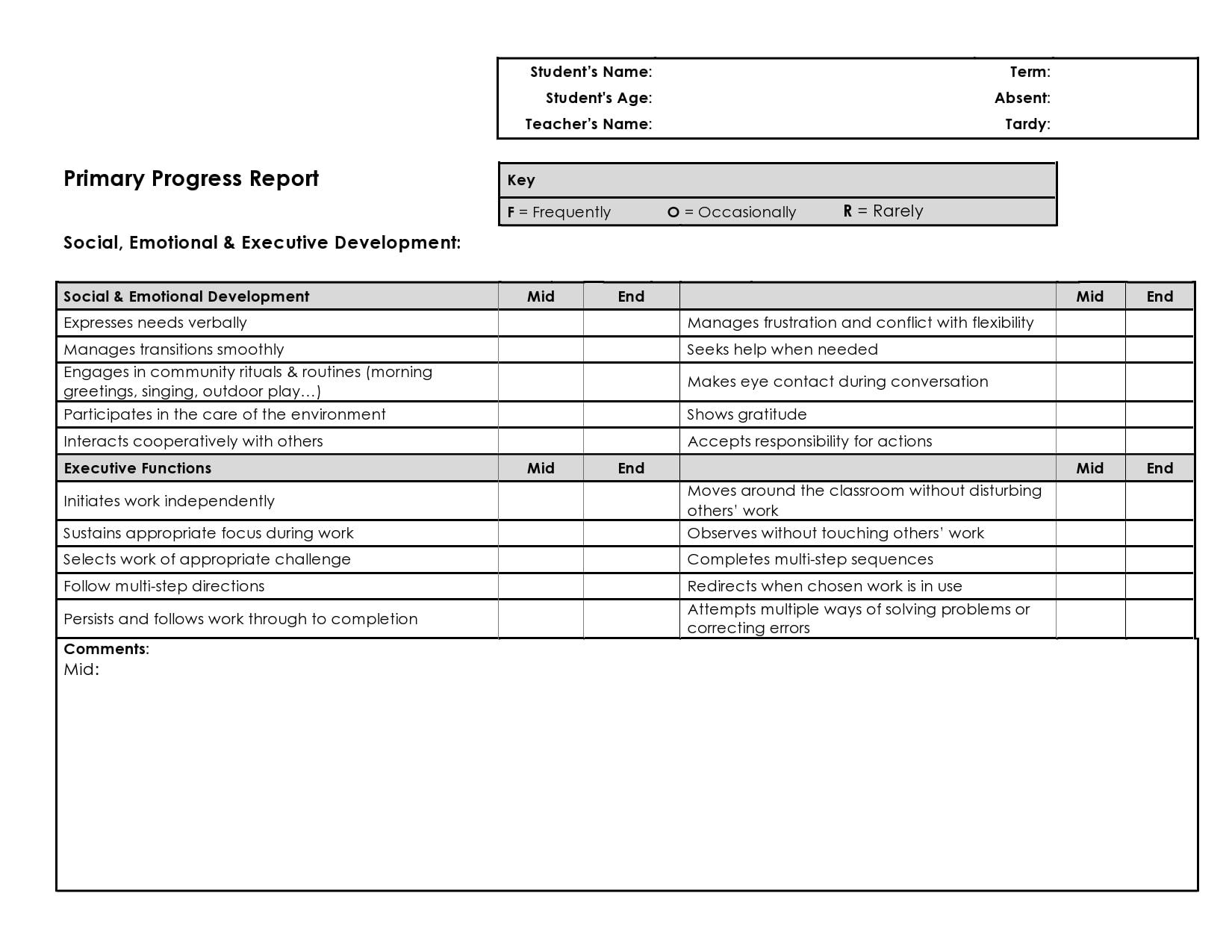 progress report template 13