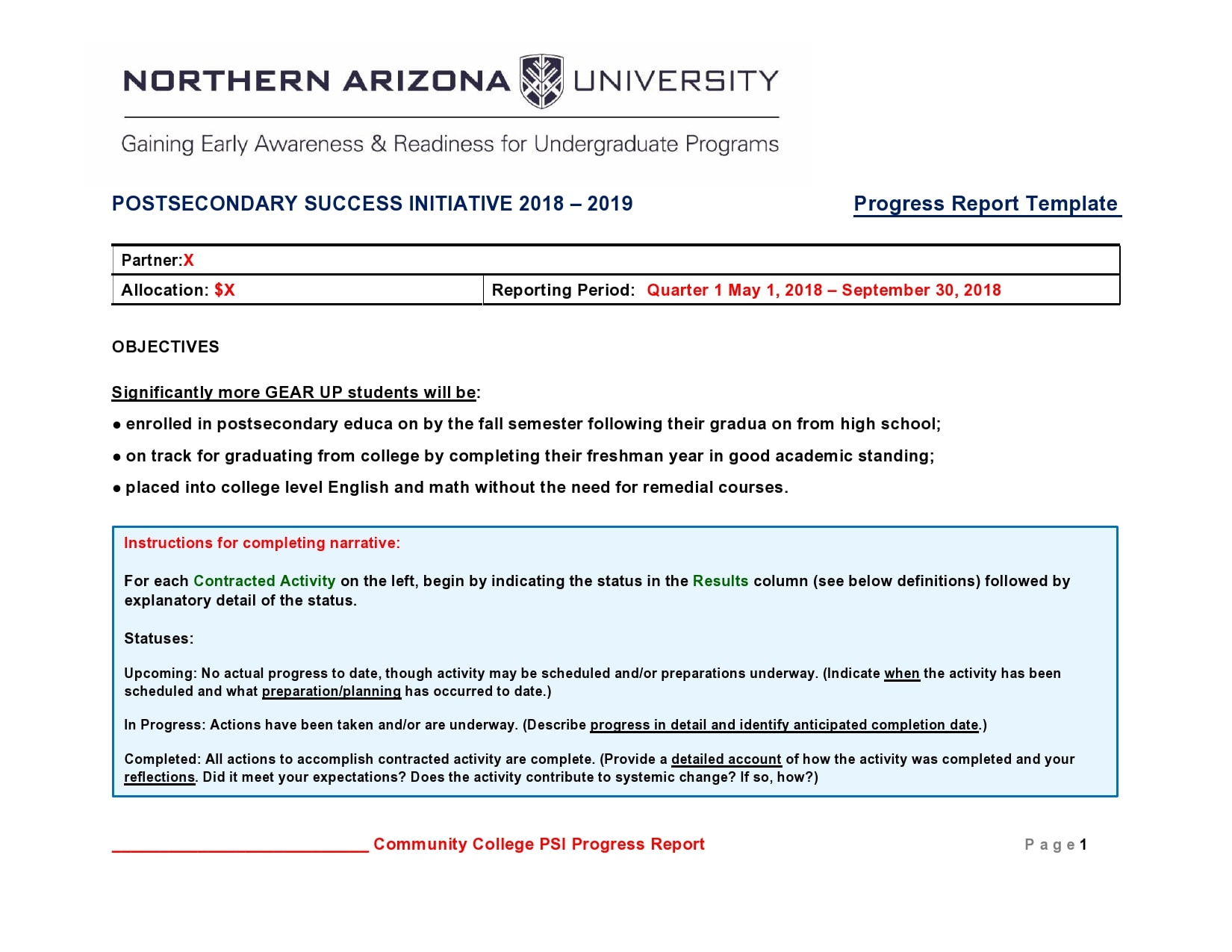 progress report template 27