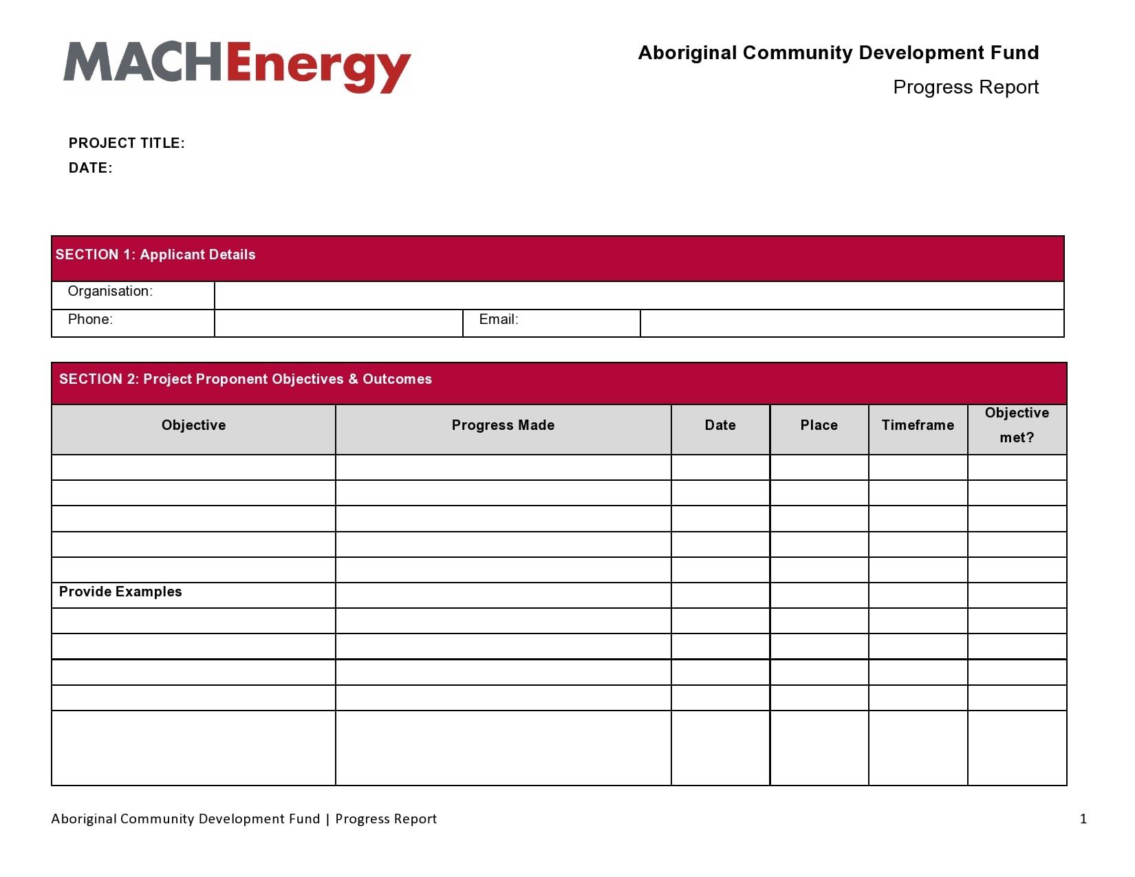 progress report template 40
