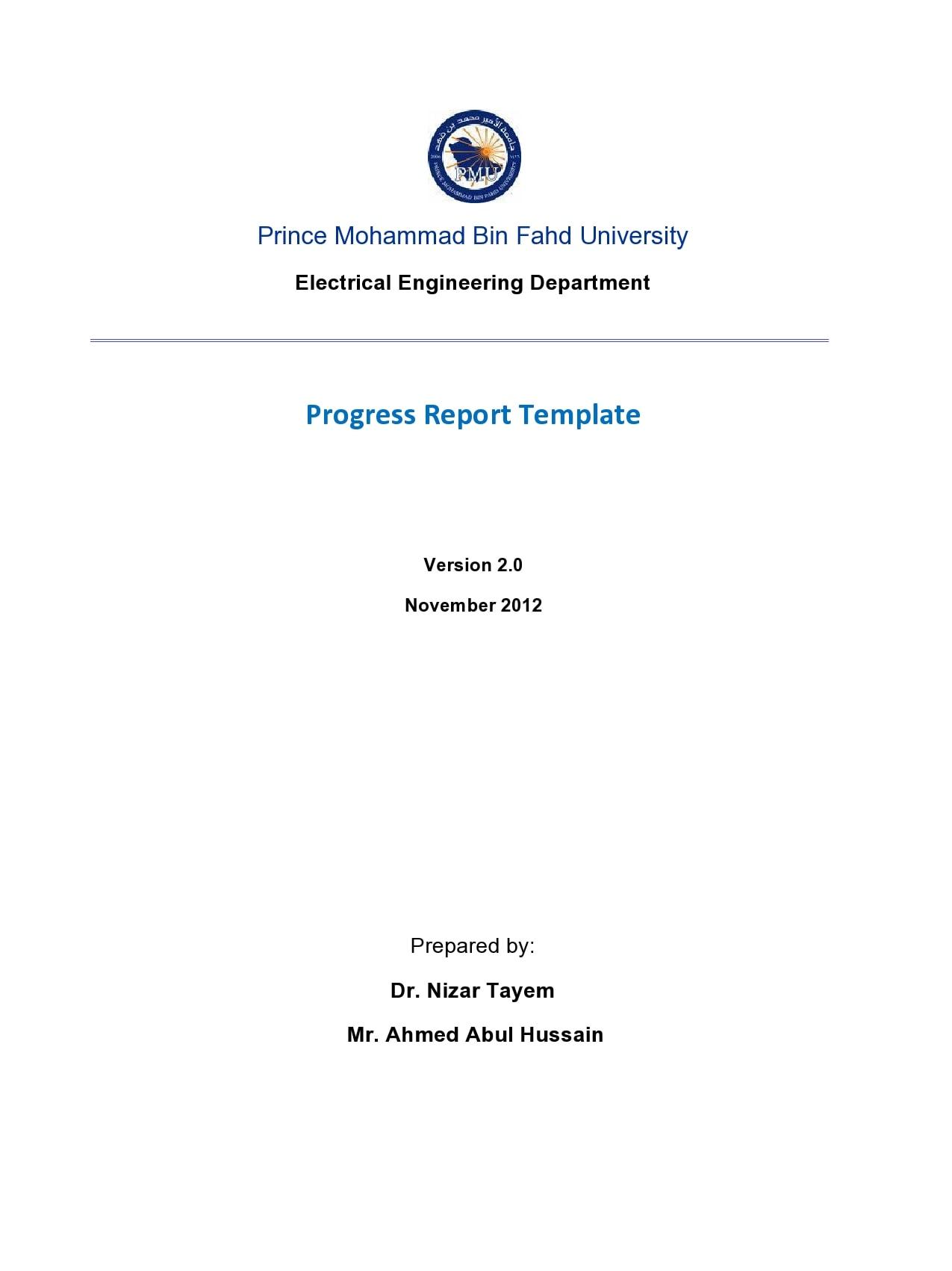 progress report template 47