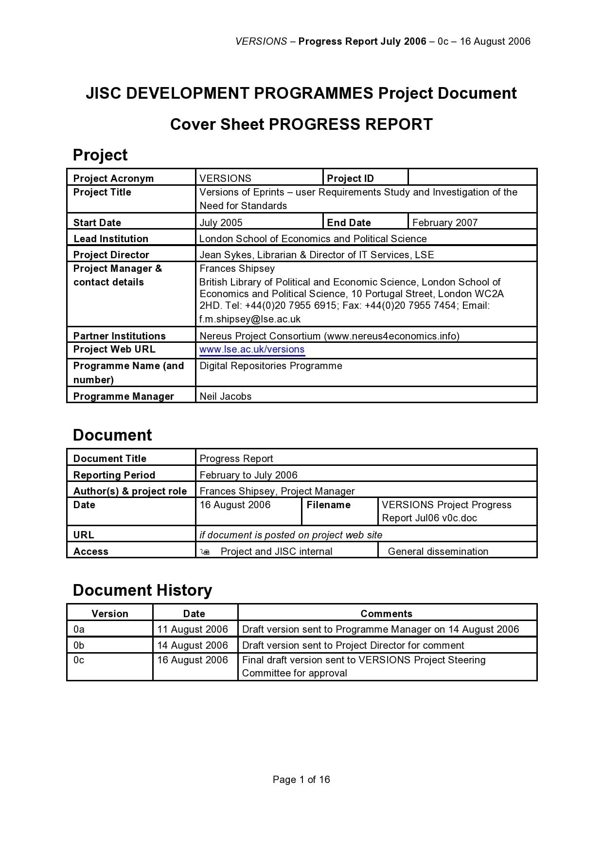 progress report template 50