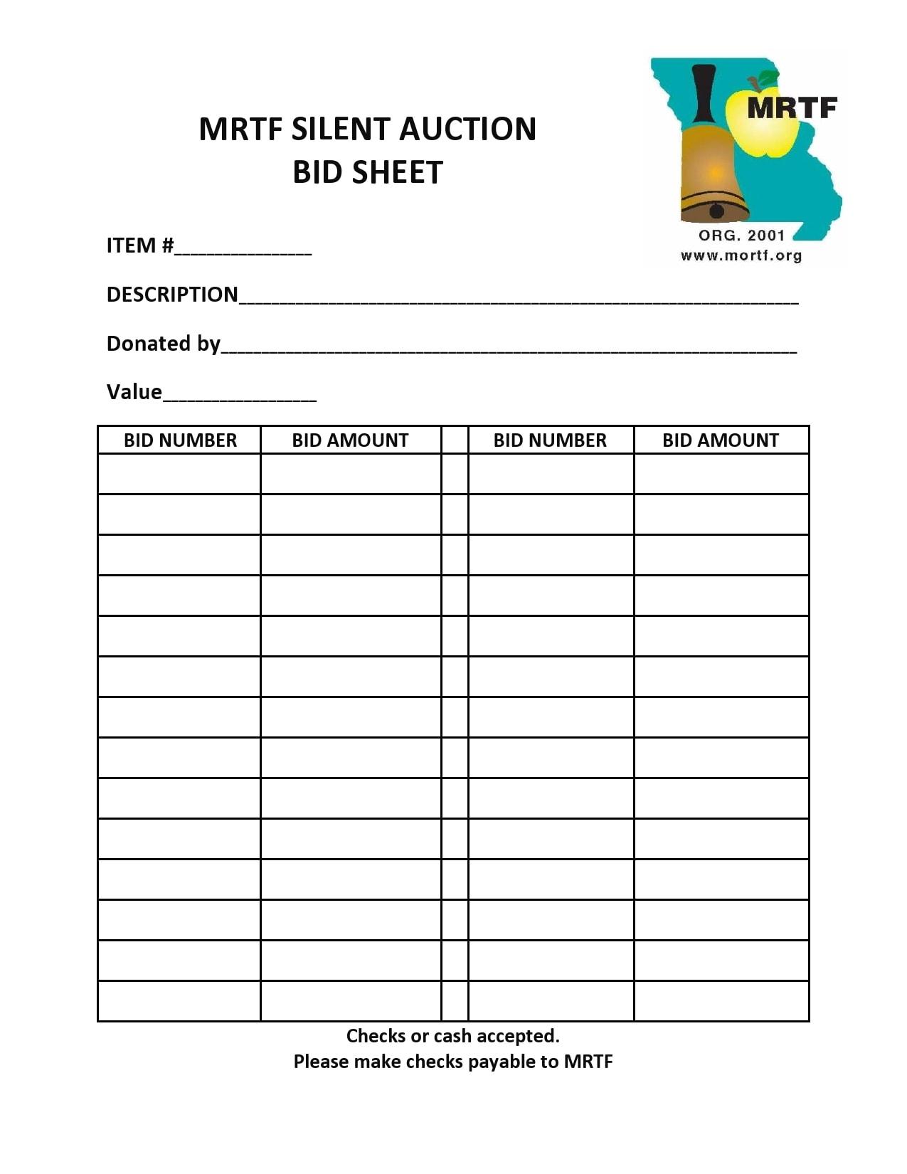 silent auction bid sheet 09